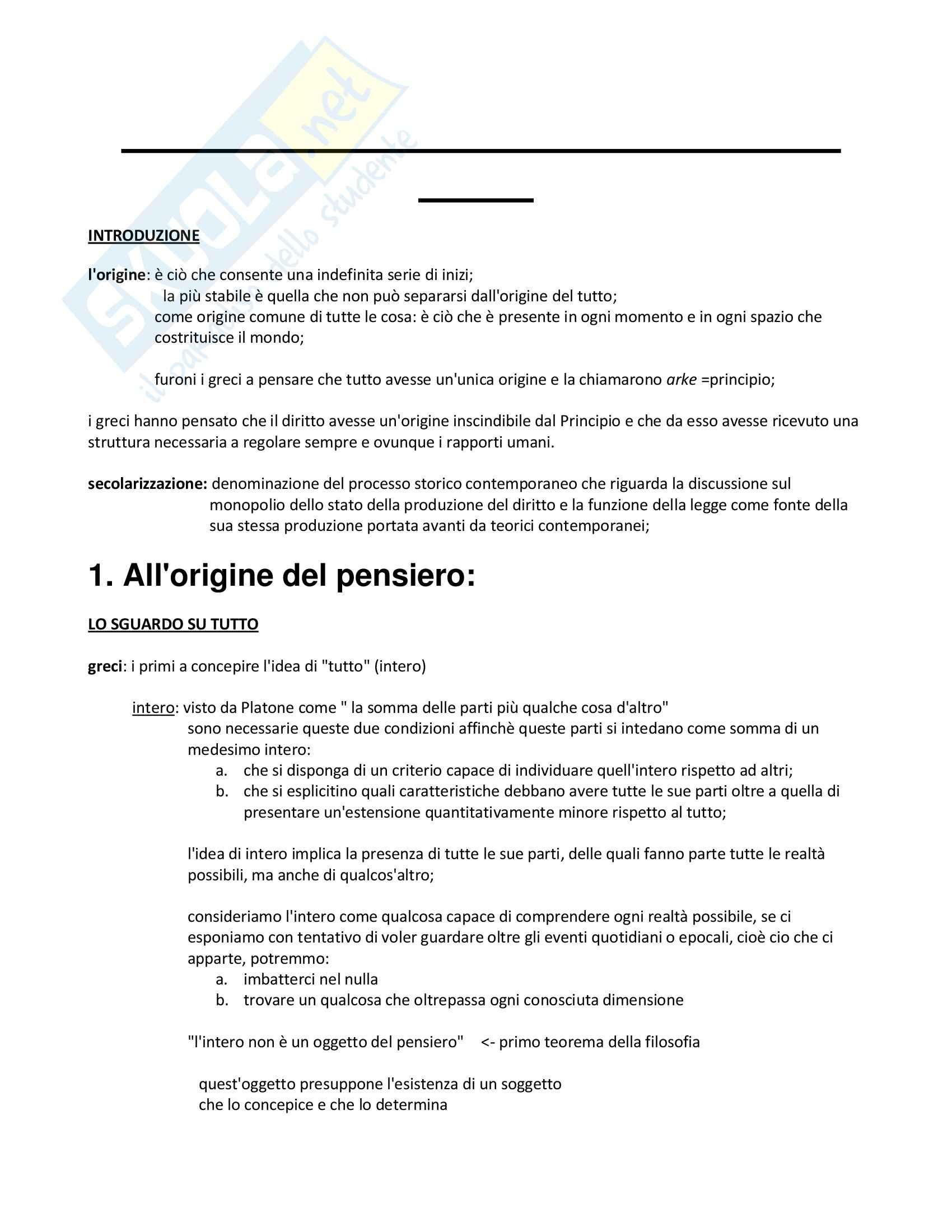 Riassunto esame Filosofia del diritto, prof. Sommaggio, libro consigliato All'origine del diritto al tramonto della legge, Cavalla, Prima parte