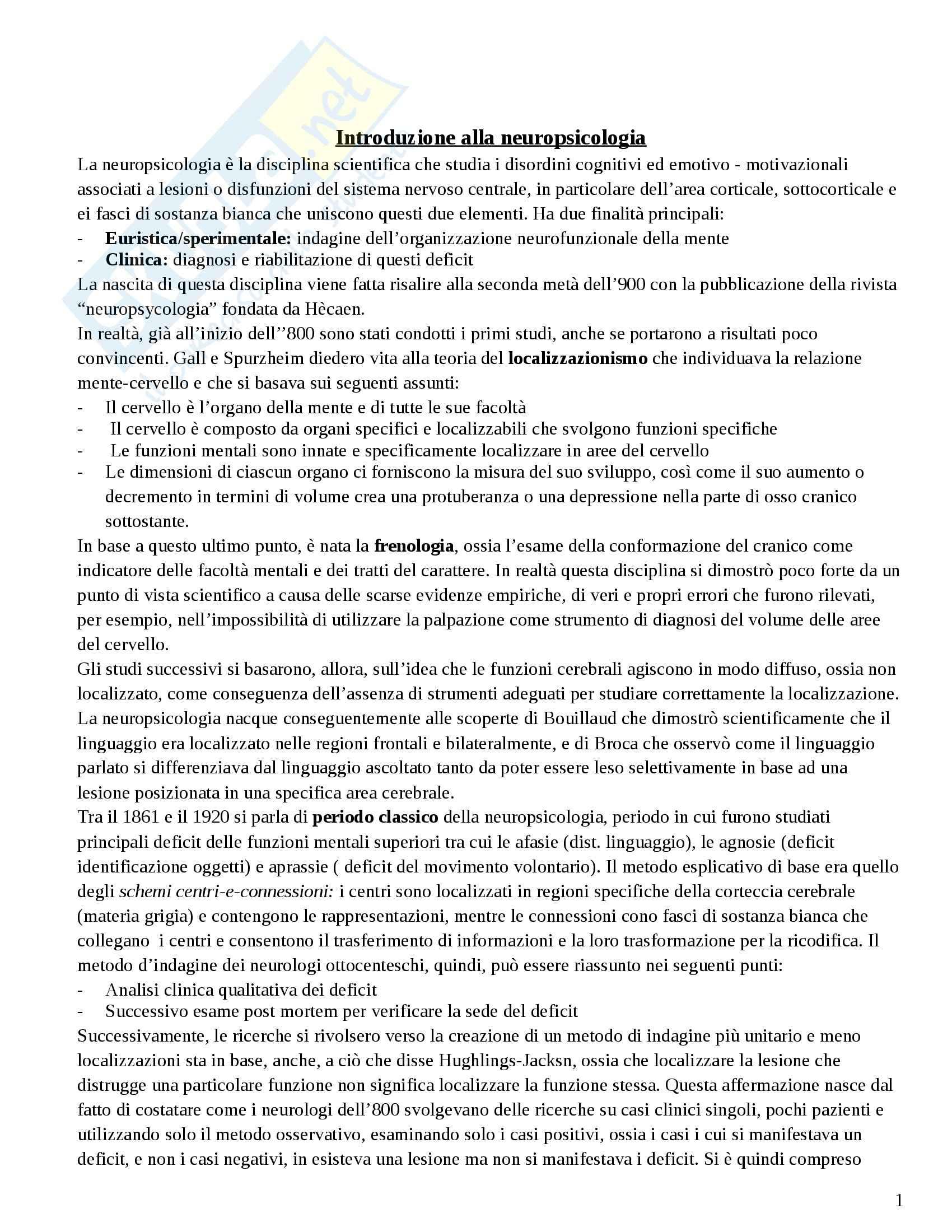 Riassunto esame Neuropsicologia, prof. Papagno, libro consigliato Manuale di Neuropsicologia, Vallar, Papagno