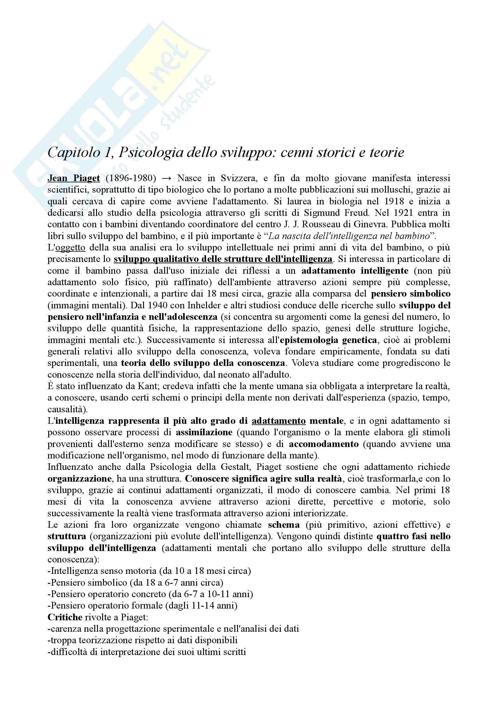 Riassunto esame Psicologia dello Sviluppo, prof. Vianello, libro consigliato Psicologia dello Sviluppo
