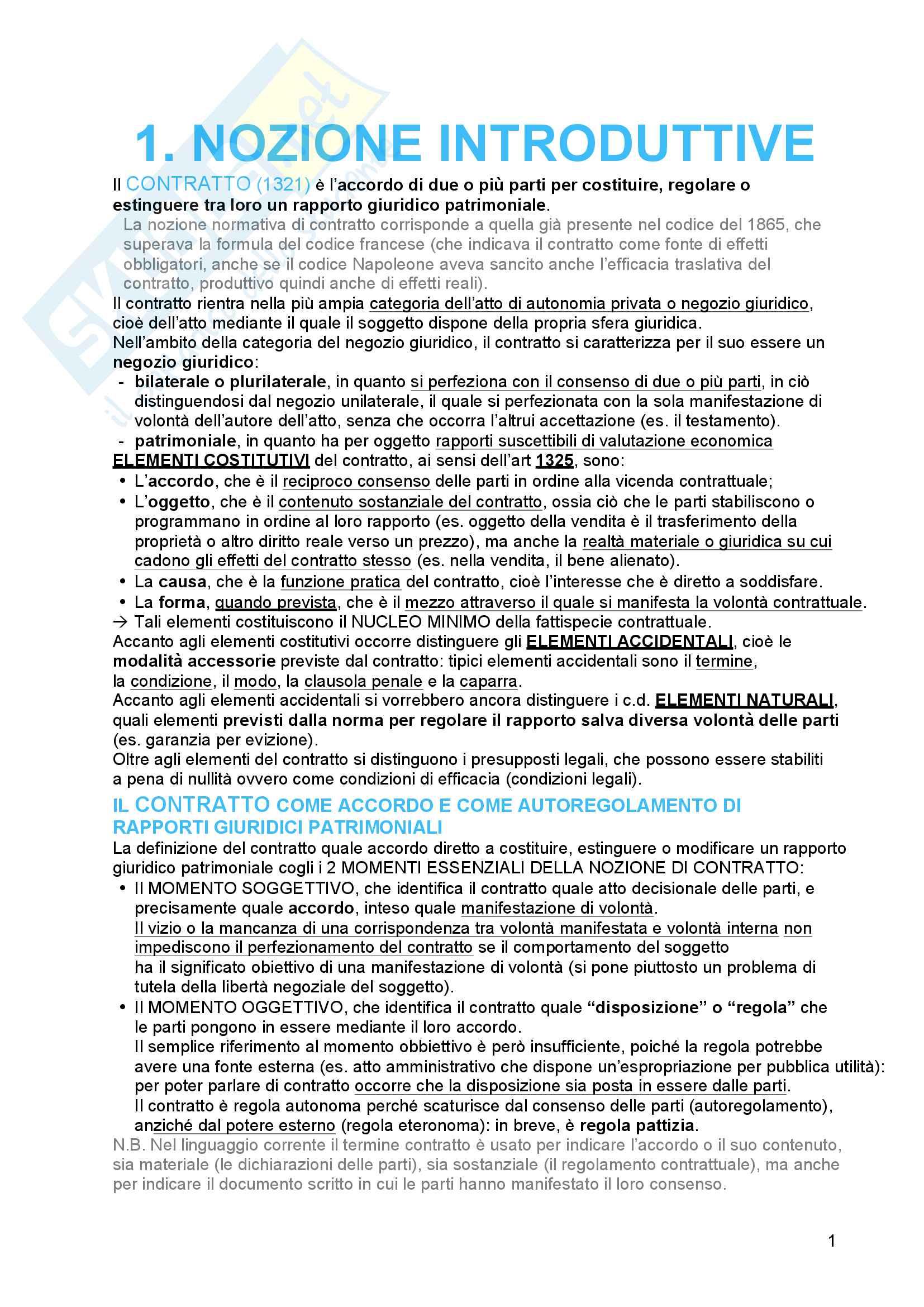 Riassunto esame diritto civile 2, prof. Troiano, libro consigliato Il contratto, Bianca (vol. 3)
