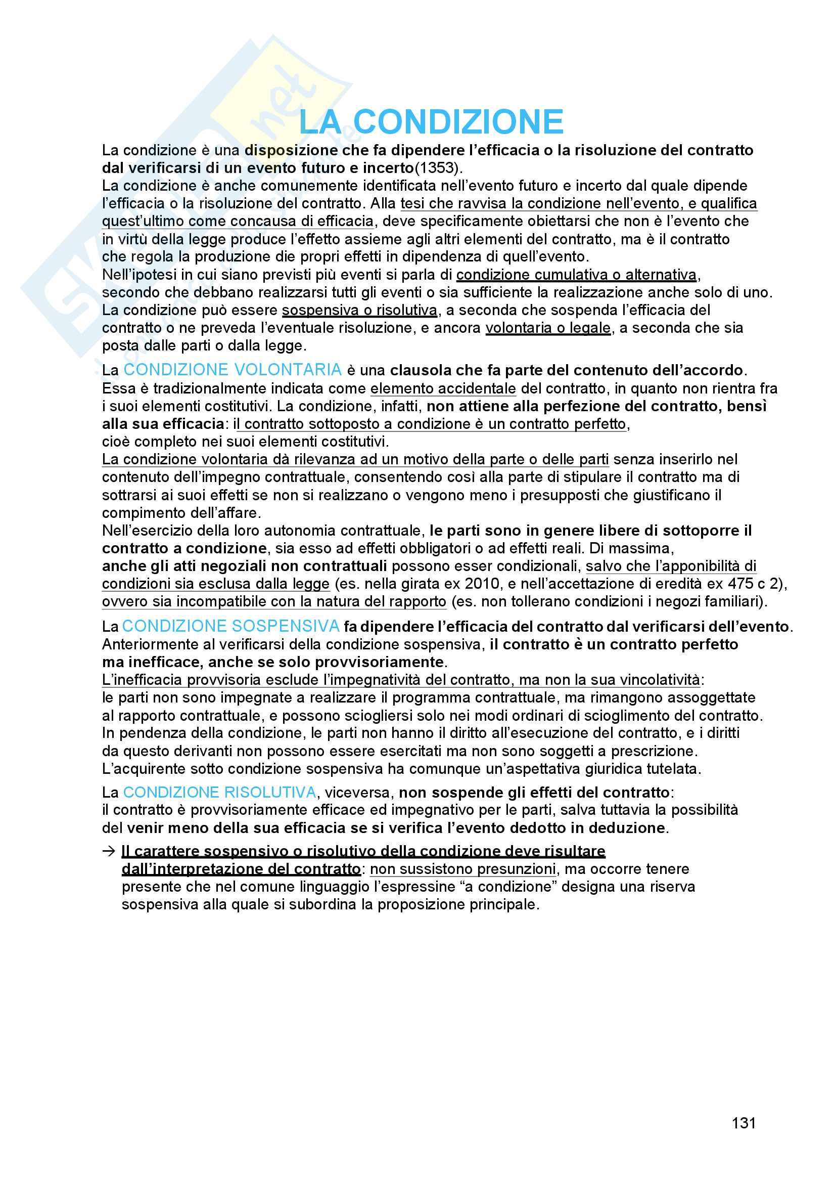 Riassunto esame diritto civile 2, prof. Troiano, libro consigliato Il contratto, Bianca (vol. 3) Pag. 131