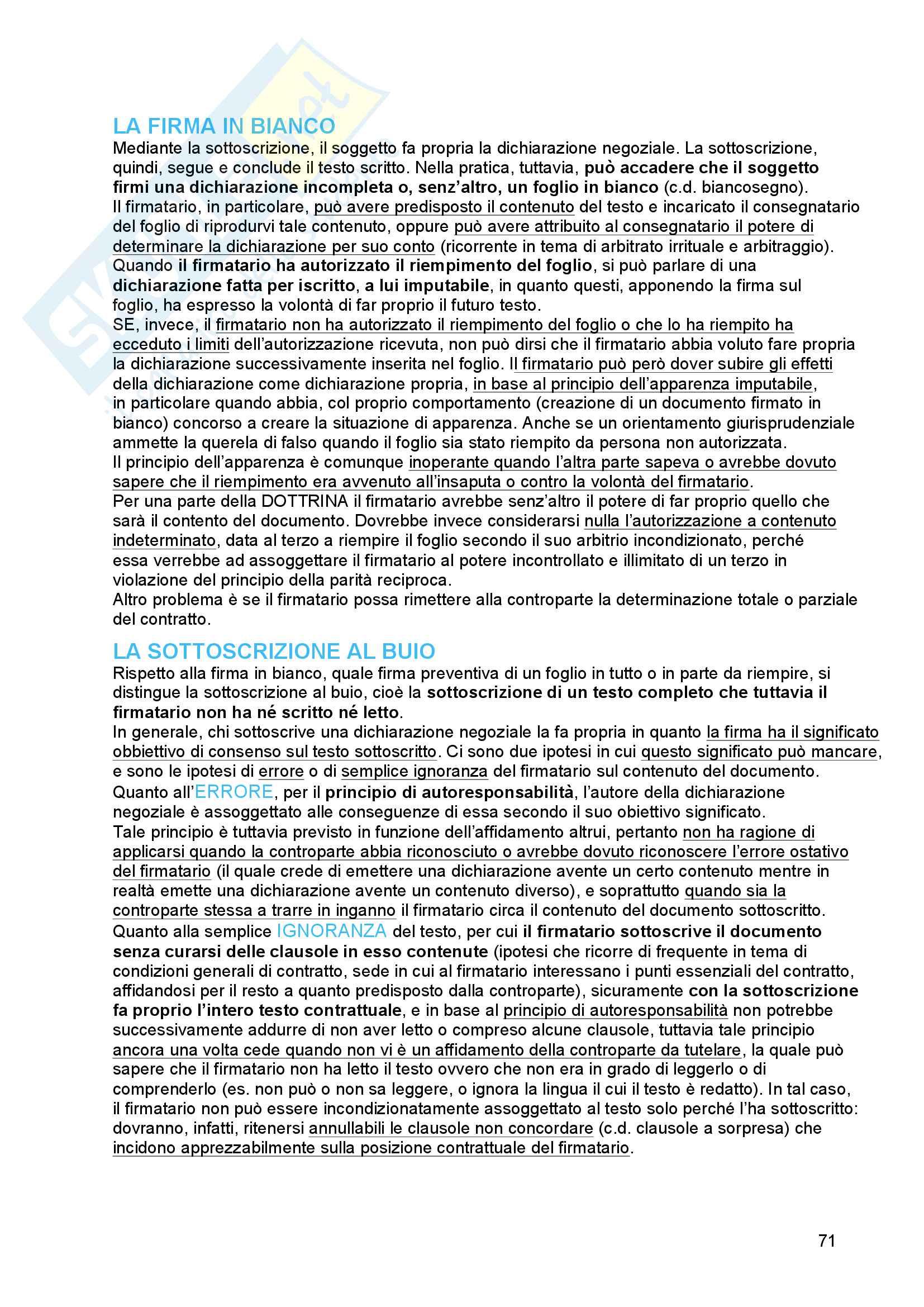 Riassunto esame diritto civile 2, prof. Troiano, libro consigliato Il contratto, Bianca (vol. 3) Pag. 71