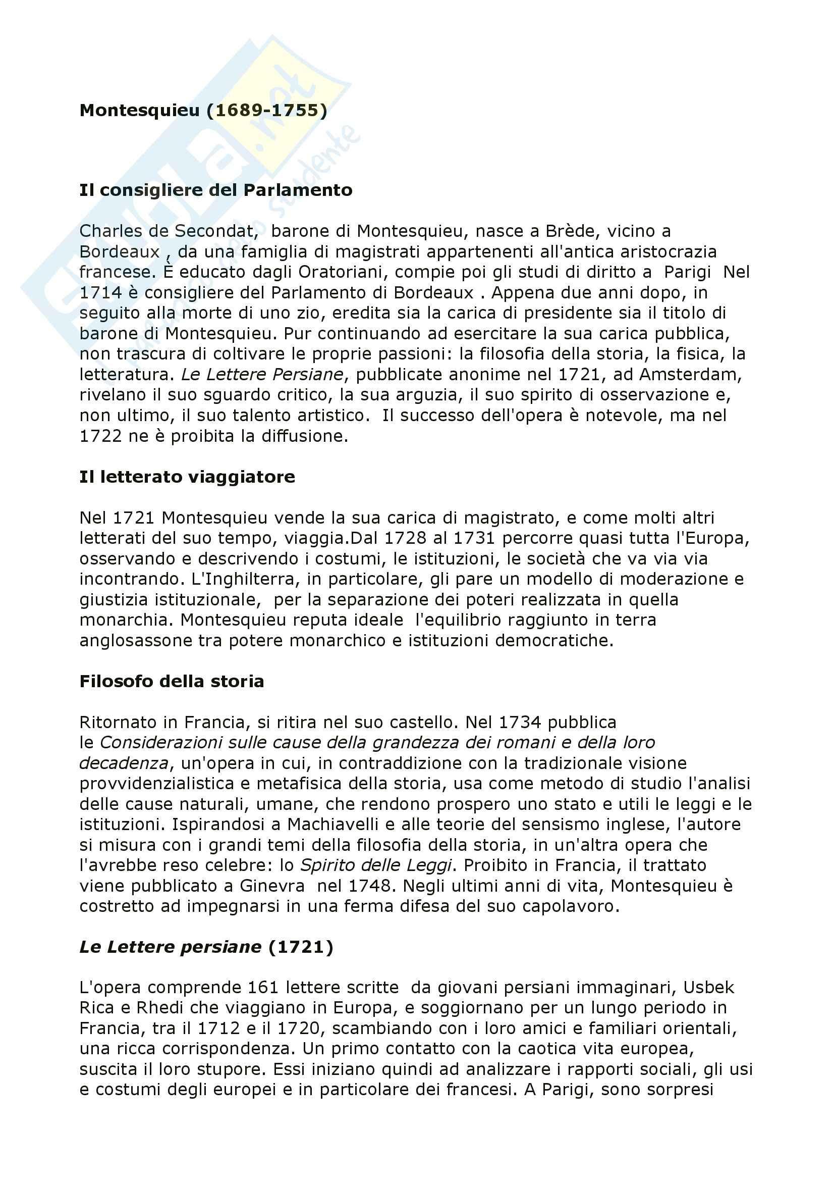 Letteratura francese - vita e opere di Montesquieu