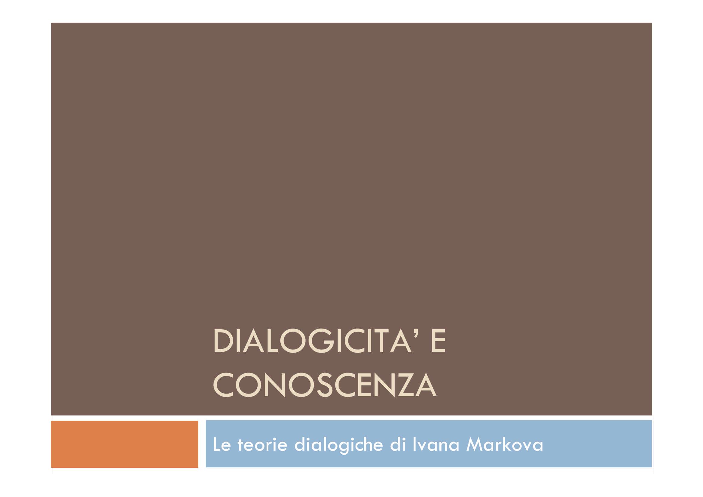 Dialogicità e conoscenza