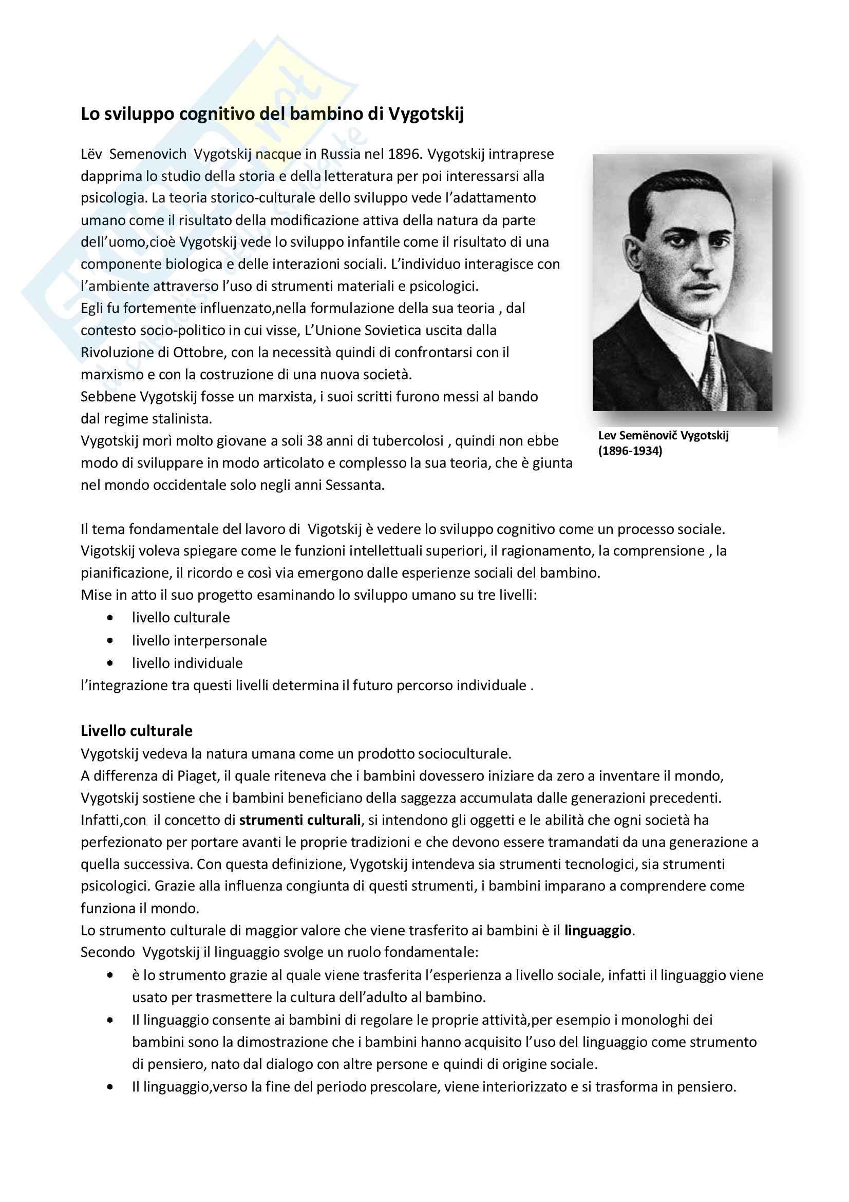 Teoria di Vygotskij sullo sviluppo cognitivo del bambino, Psicologia dello sviluppo