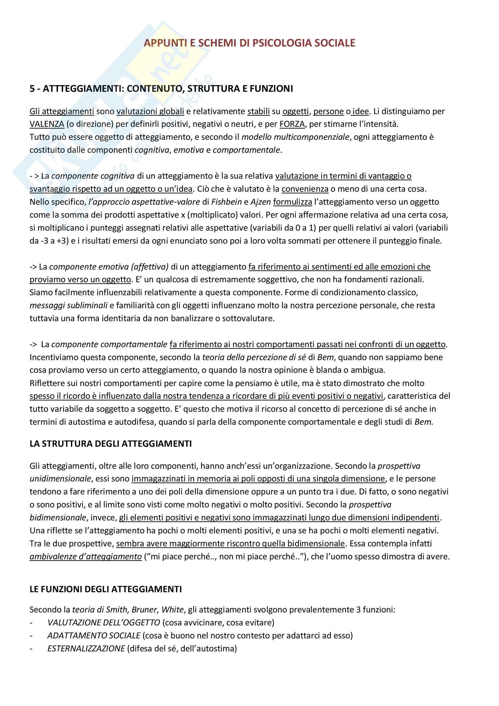 Atteggiamenti: contenuto, struttura e funzioni, Psicologia sociale 1