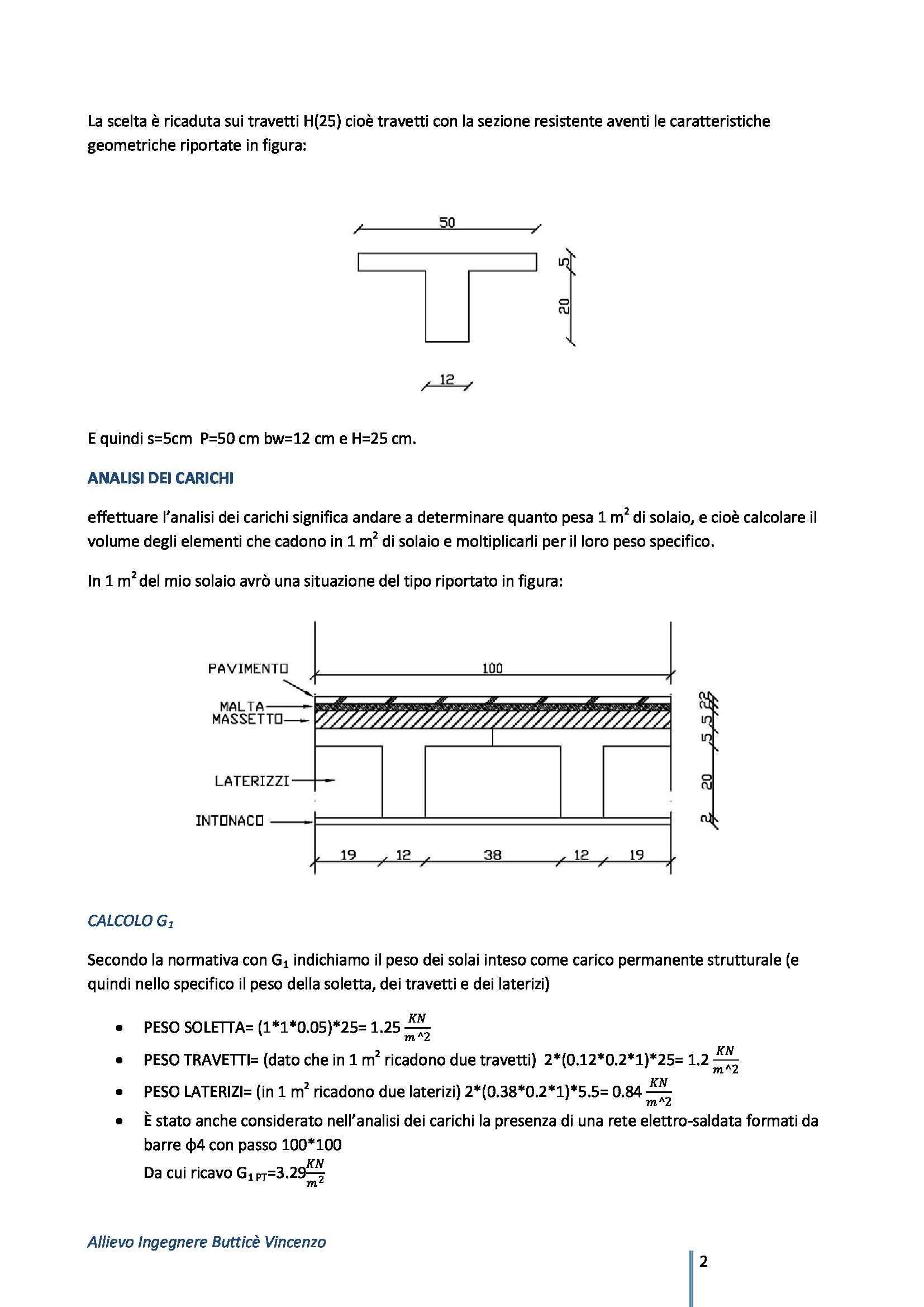 Tecnica delle costruzioni - progetto di un solaio in latero Pag. 2