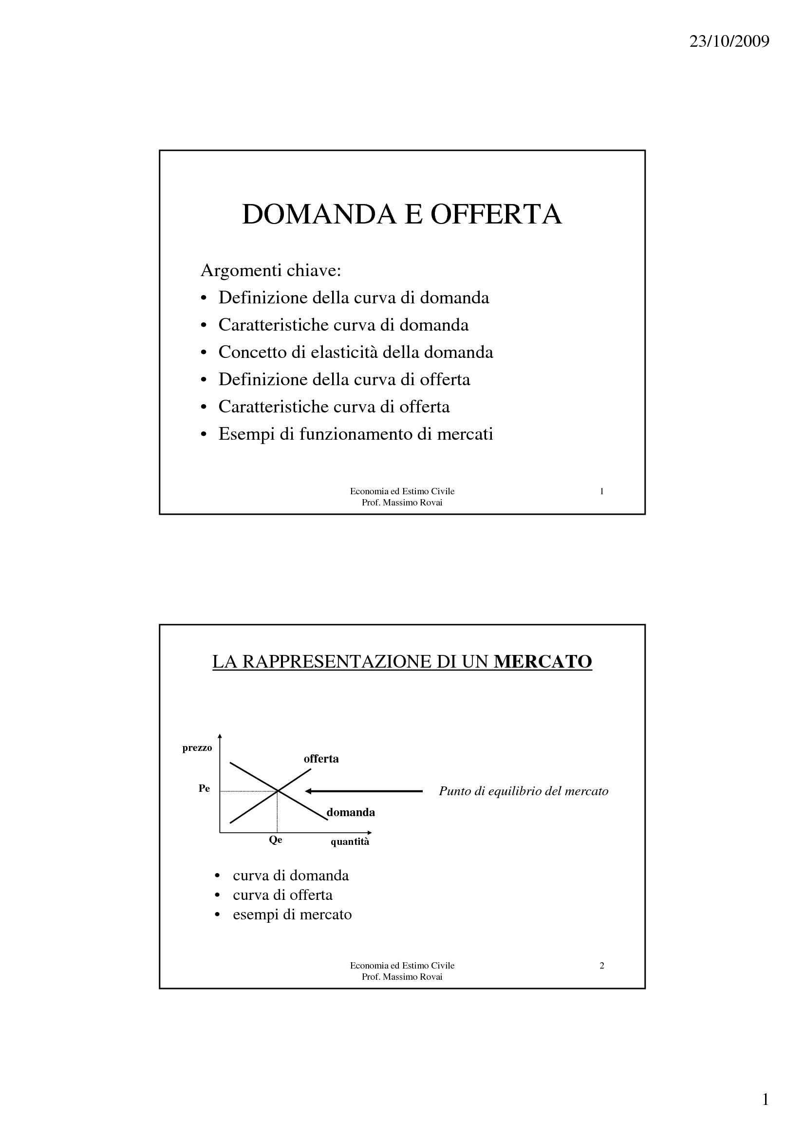 Elementi di economia - Domanda e Offerta