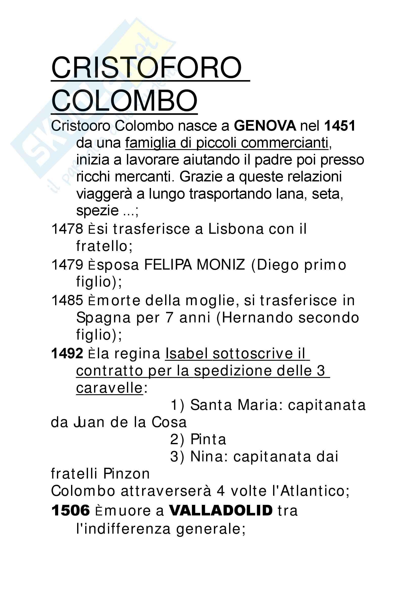 Cristoforo Colombo - Appunti