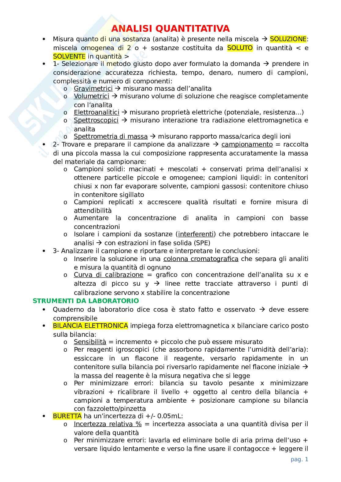 Appunti di chimica analitica Pag. 1