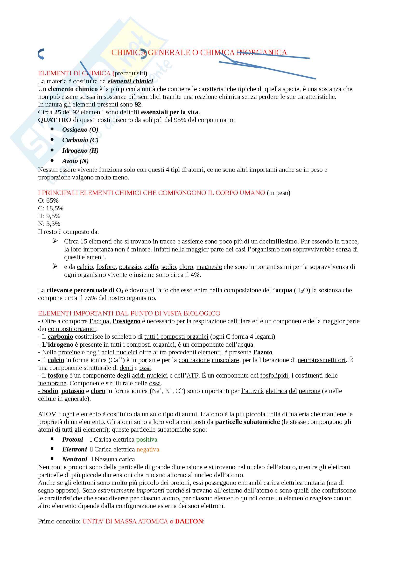 Appunti Biologia-Chimica per superare OFA!! Utile anche per superare il Test d'ingresso