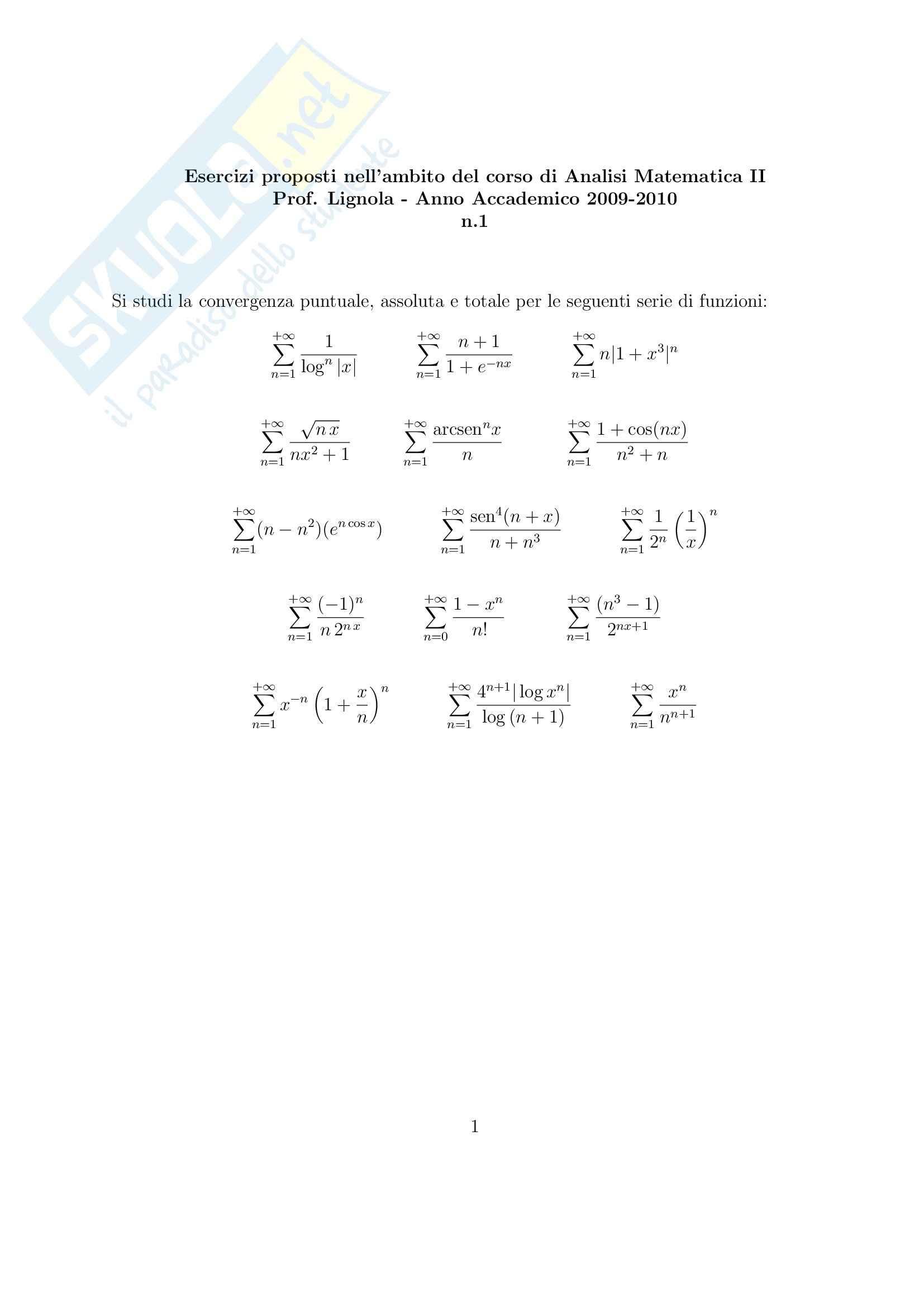 esercitazione M. Lignola Analisi matematica II