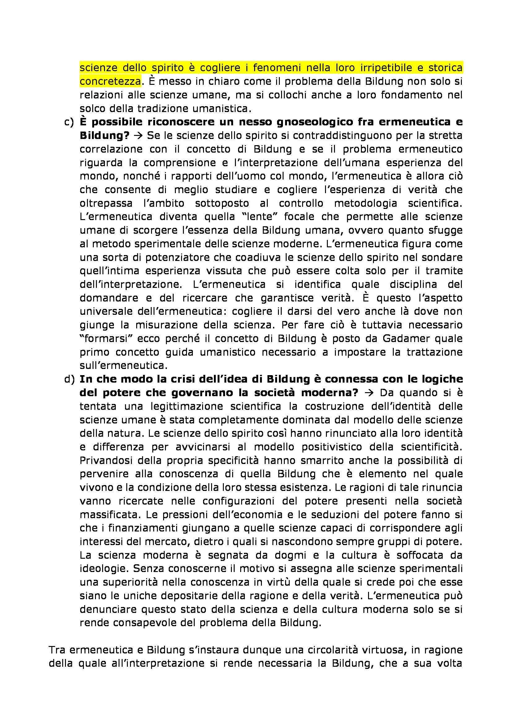 Filosofia dell'educazione - Bildung e Umanesimo, Gadamer Pag. 2