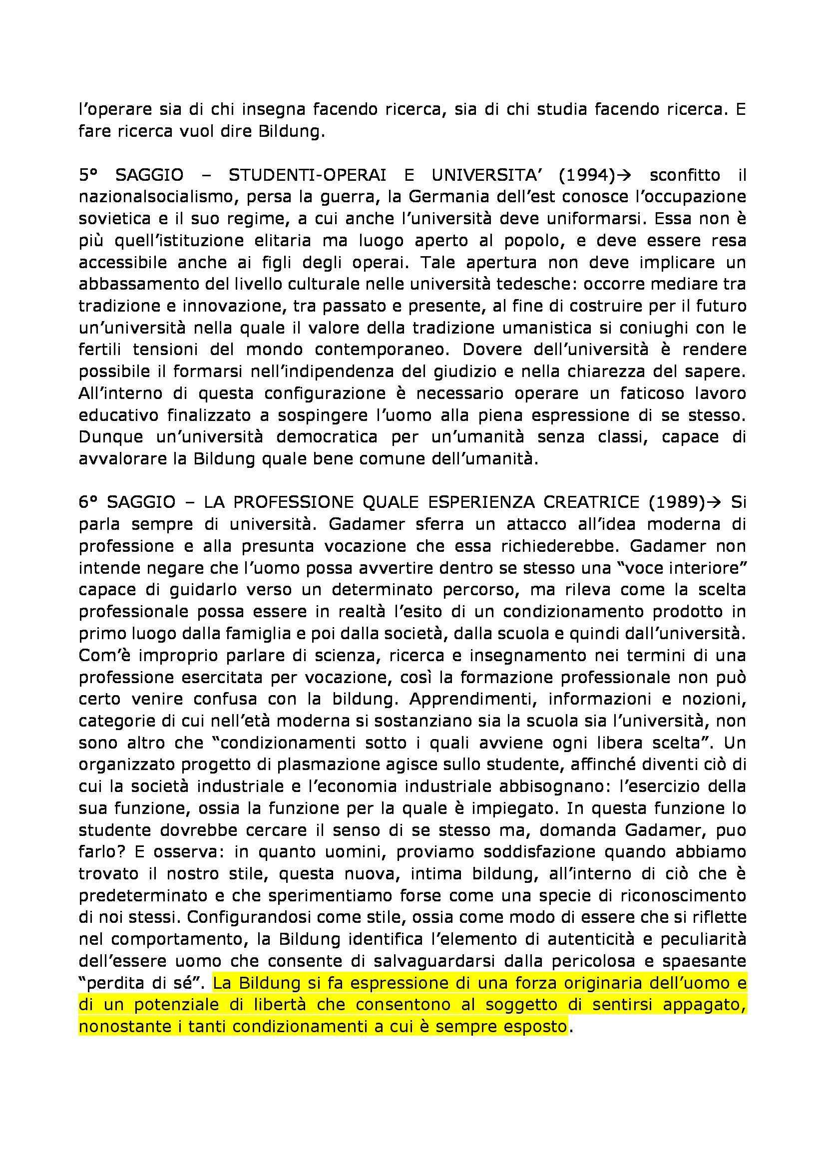 Filosofia dell'educazione - Bildung e Umanesimo, Gadamer Pag. 6