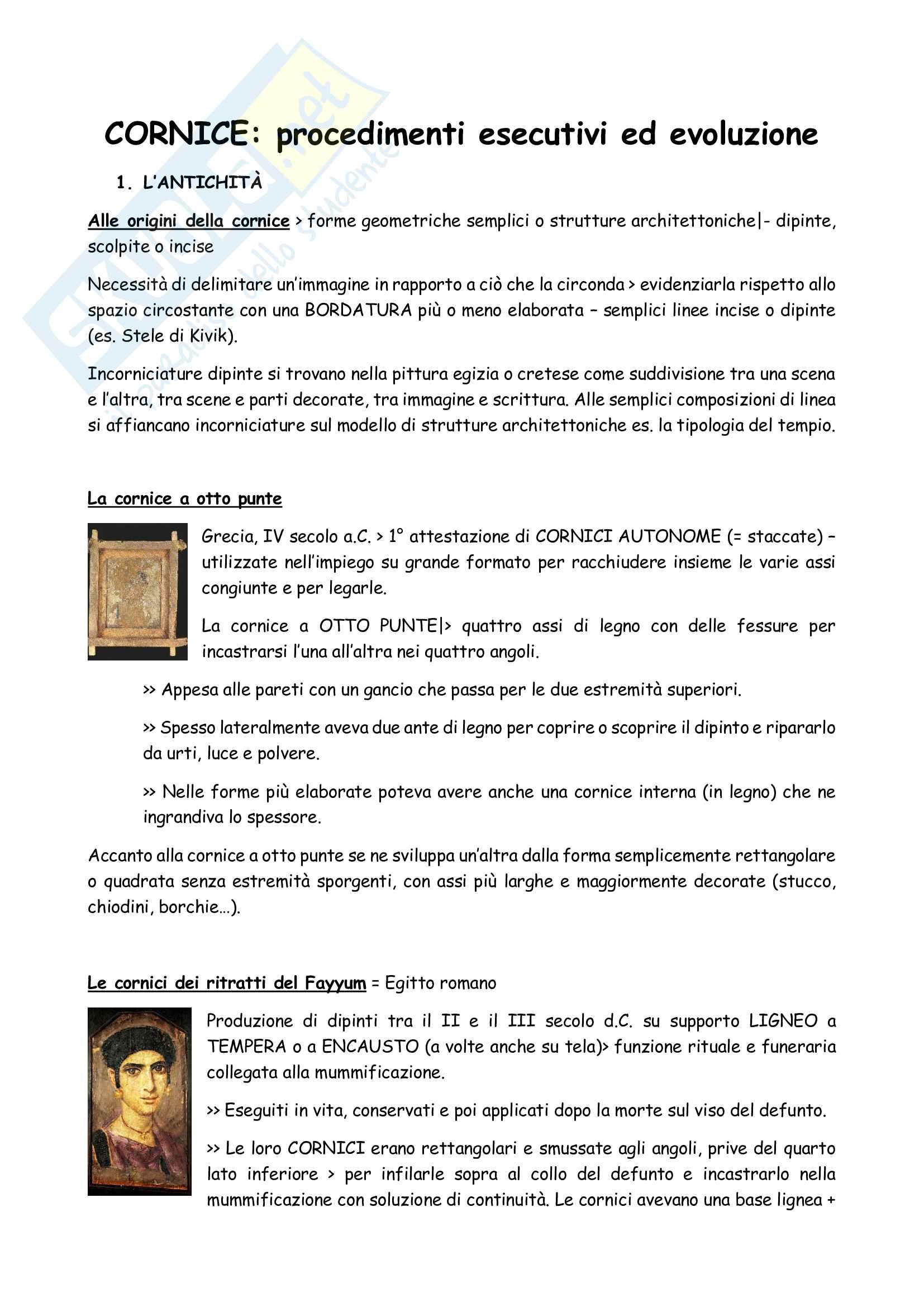 Riassunto esame Storia delle Tecniche Artistiche, prof. Laskaris, dispensa consigliata Saggio sulle cornici
