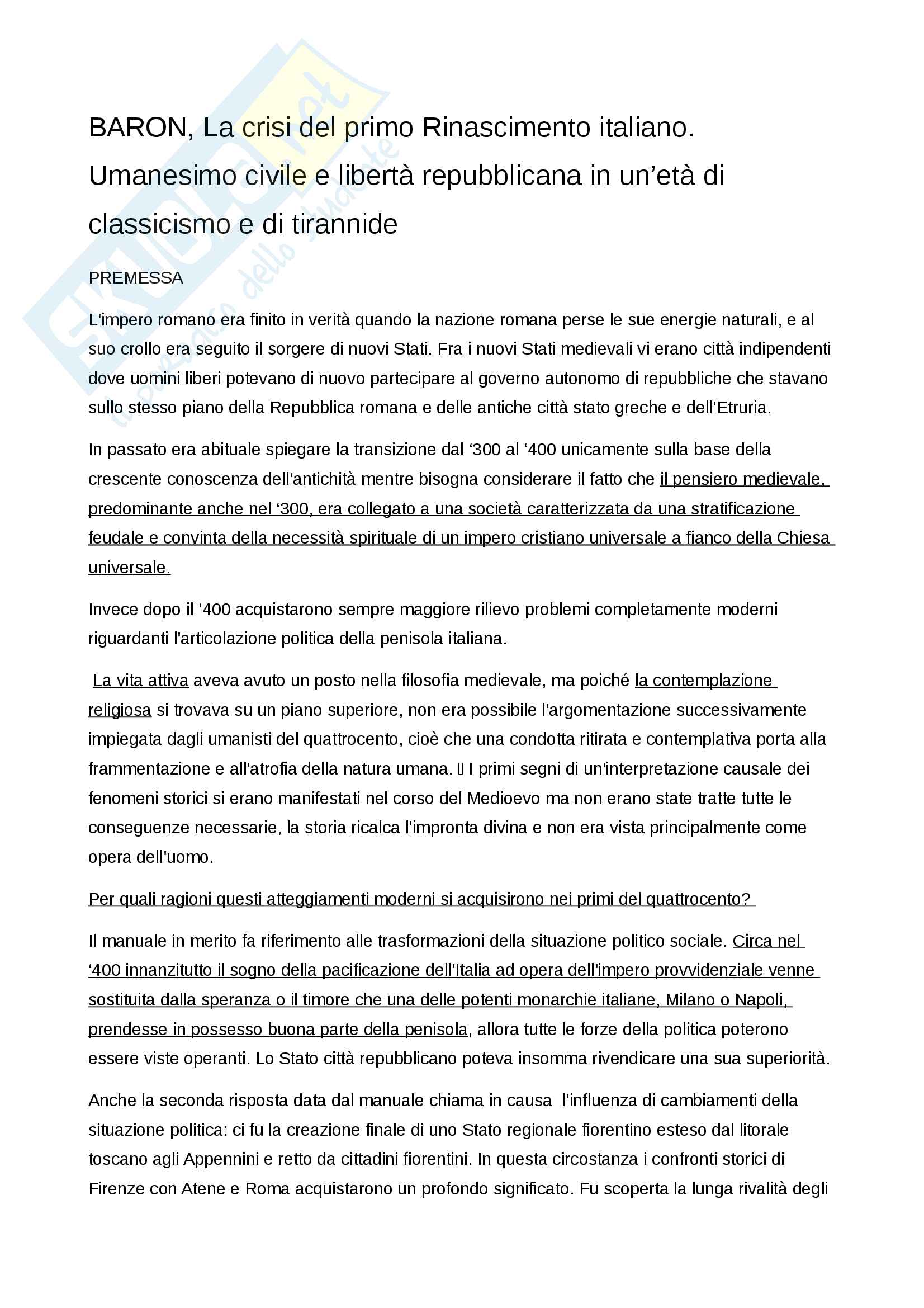 Riassunto esame Letteratura italiana del rinascimento, prof. Venier, libro consigliato Baron, La crisi del primo Rinascimento italiano. Umanesimo civile e libertà repubblicana in un'età di classicismo e di tirannide