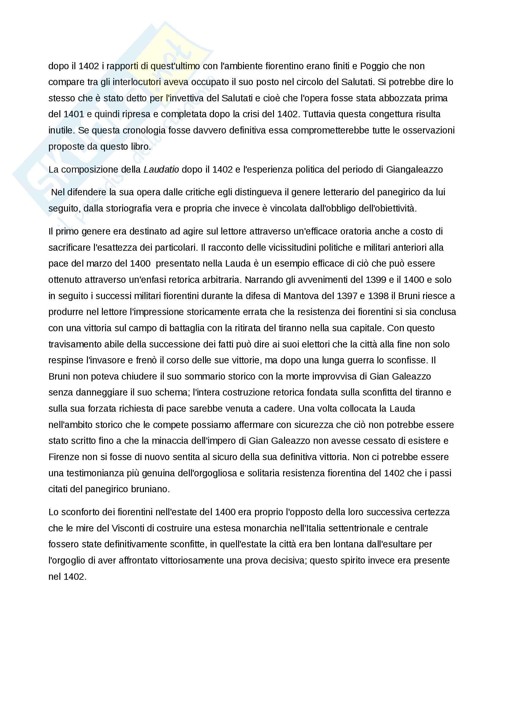 Riassunto esame Letteratura italiana del rinascimento, prof. Venier, libro consigliato Baron, La crisi del primo Rinascimento italiano. Umanesimo civile e libertà repubblicana in un'età di classicismo e di tirannide Pag. 26