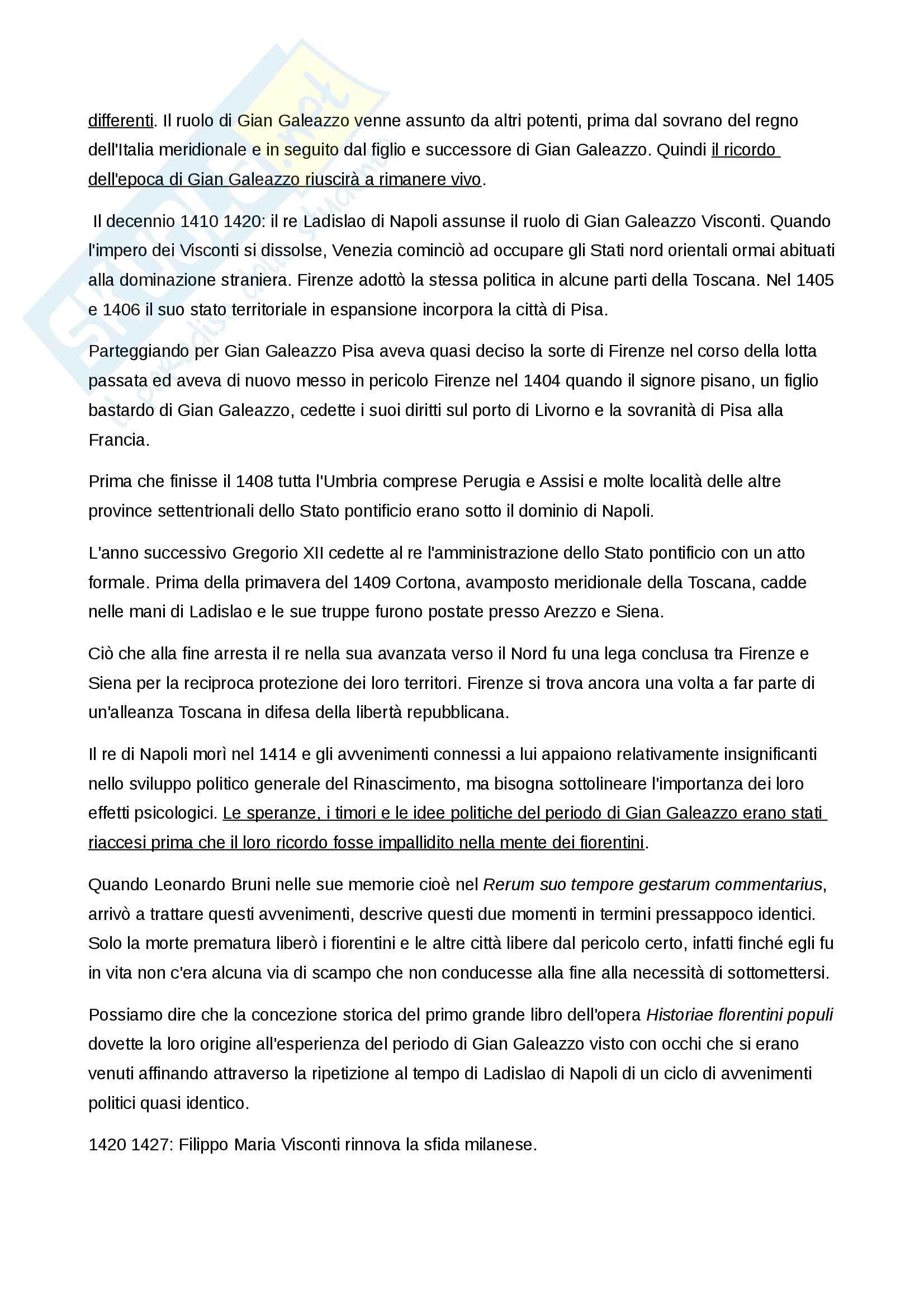 Riassunto esame Letteratura italiana del rinascimento, prof. Venier, libro consigliato Baron, La crisi del primo Rinascimento italiano. Umanesimo civile e libertà repubblicana in un'età di classicismo e di tirannide Pag. 41