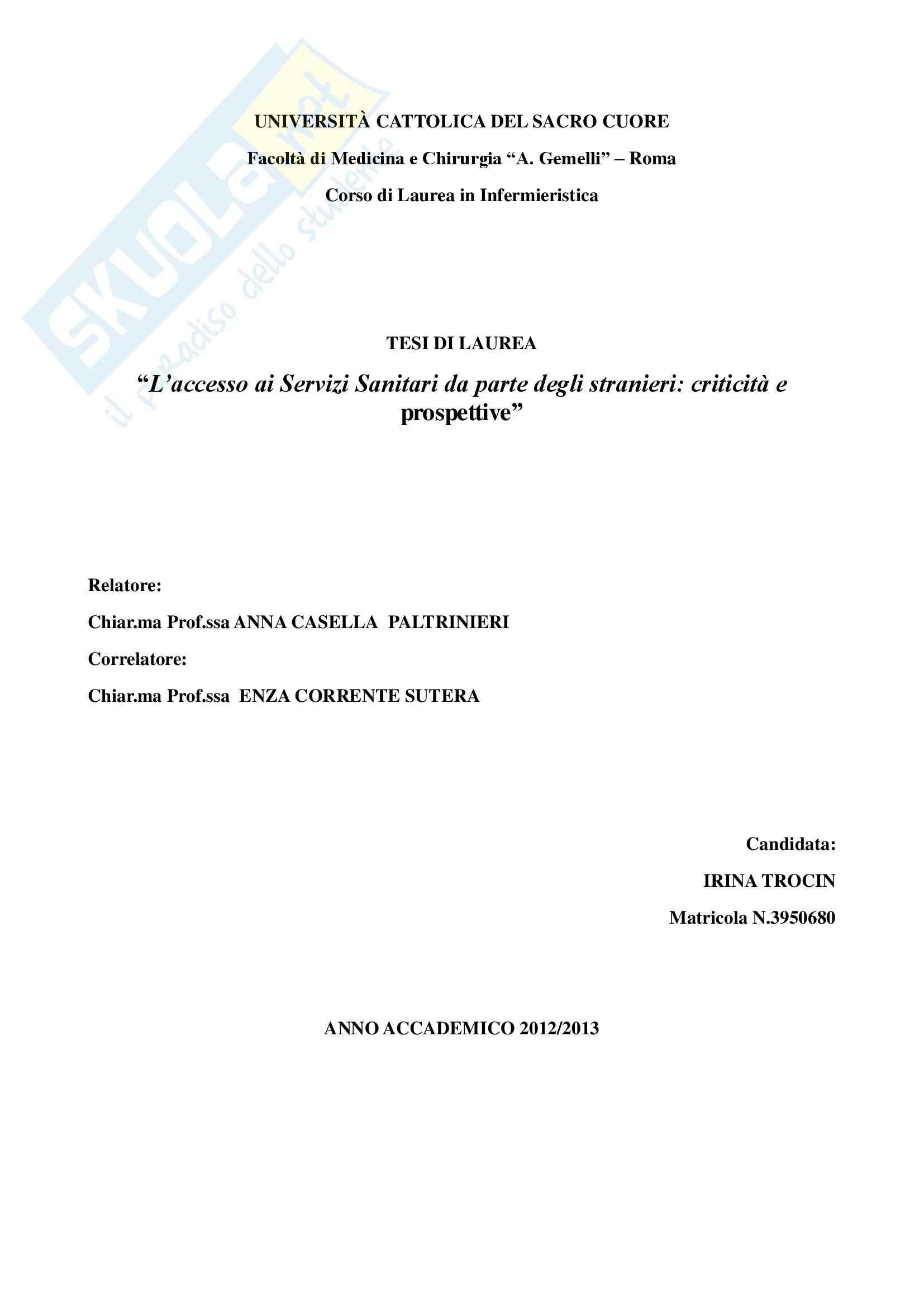 Tesi - L'accesso ai Servizi Sanitari da parte degli stranieri: criticità e prospettive