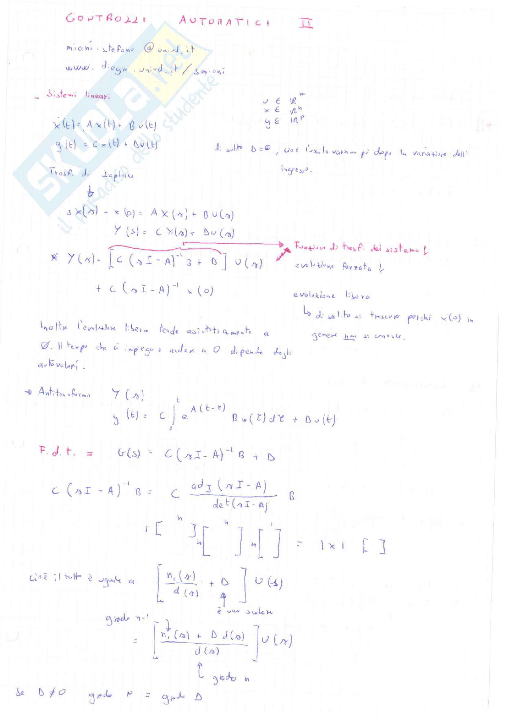 Controlli Automatici i e II - Appunti completi e esercizi Pag. 1