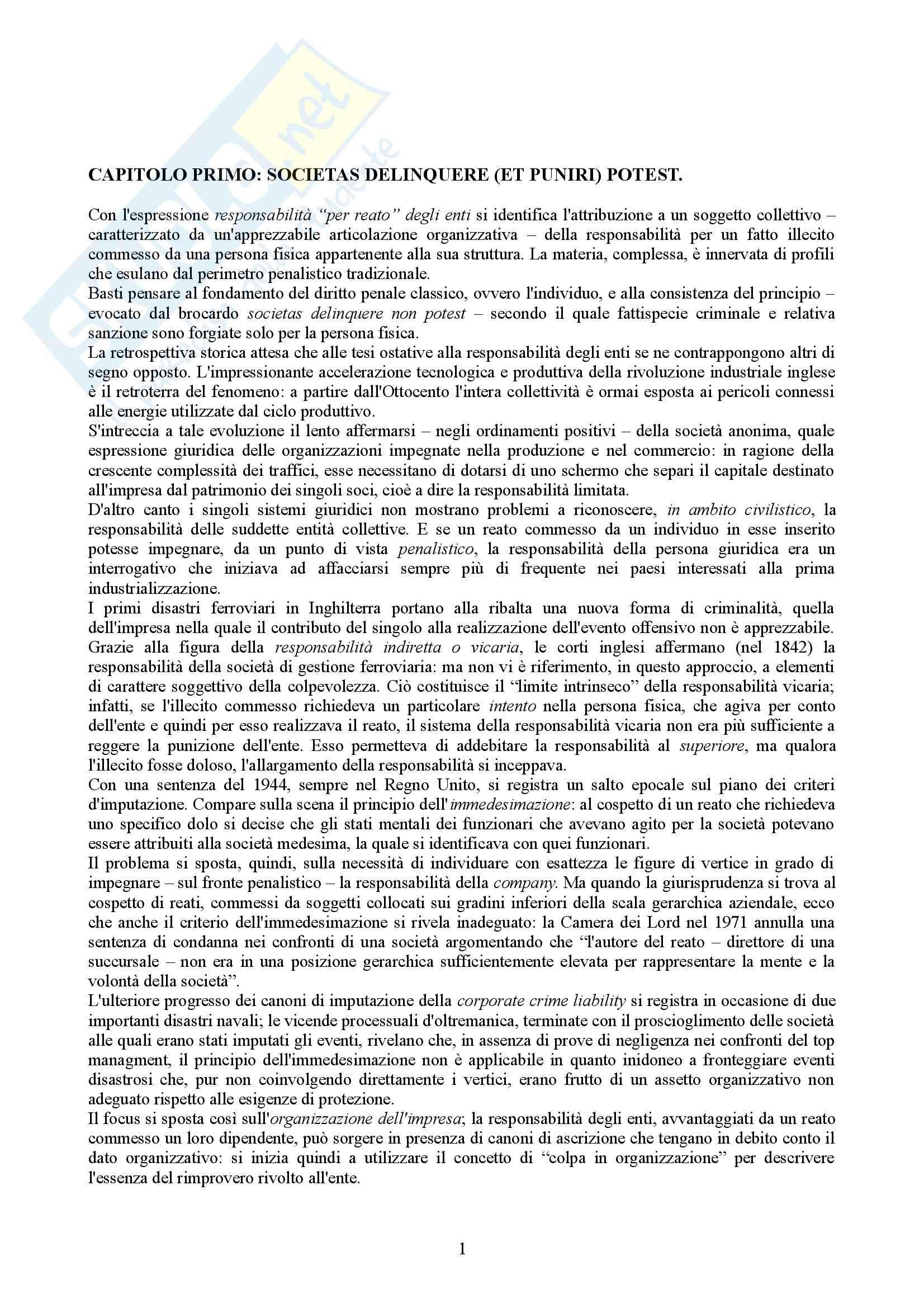 Riassunto esame Diritto processuale penale, prof. Corso, libro consigliato Manuale della responsabilità degli enti, Presutti, Bernasconi