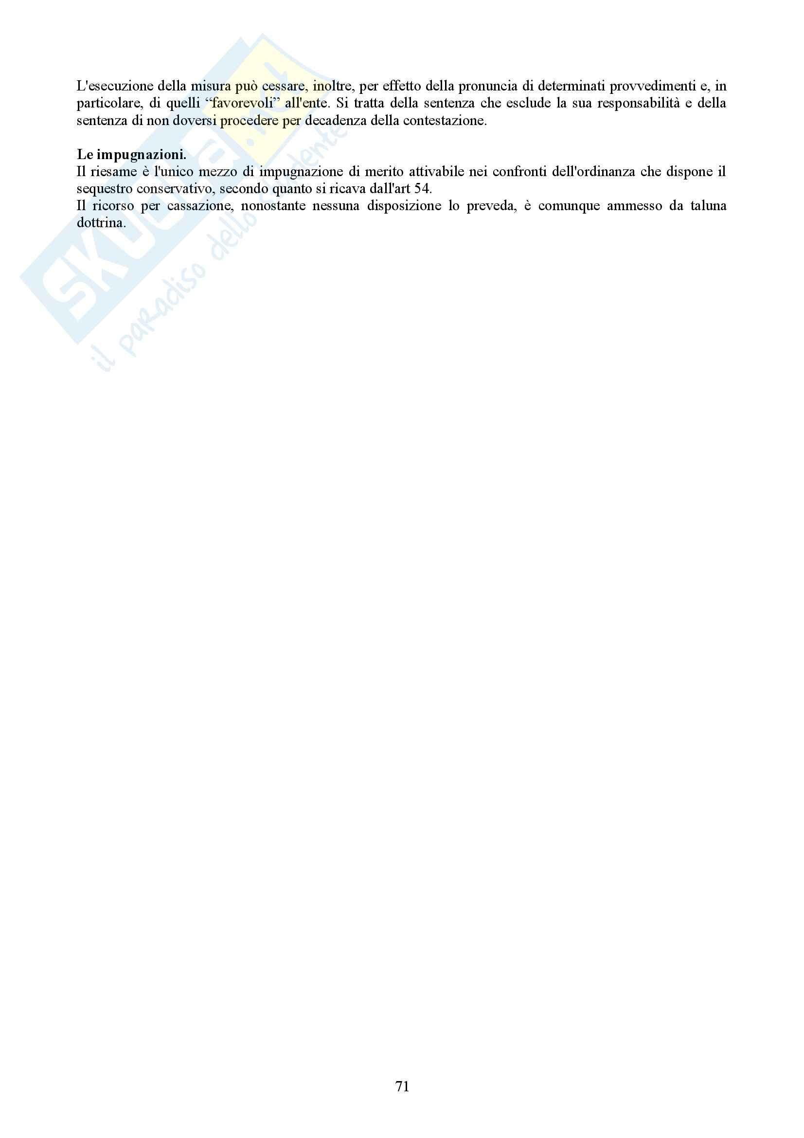 Riassunto esame Diritto processuale penale, prof. Corso, libro consigliato Manuale della responsabilità degli enti, Presutti, Bernasconi Pag. 71