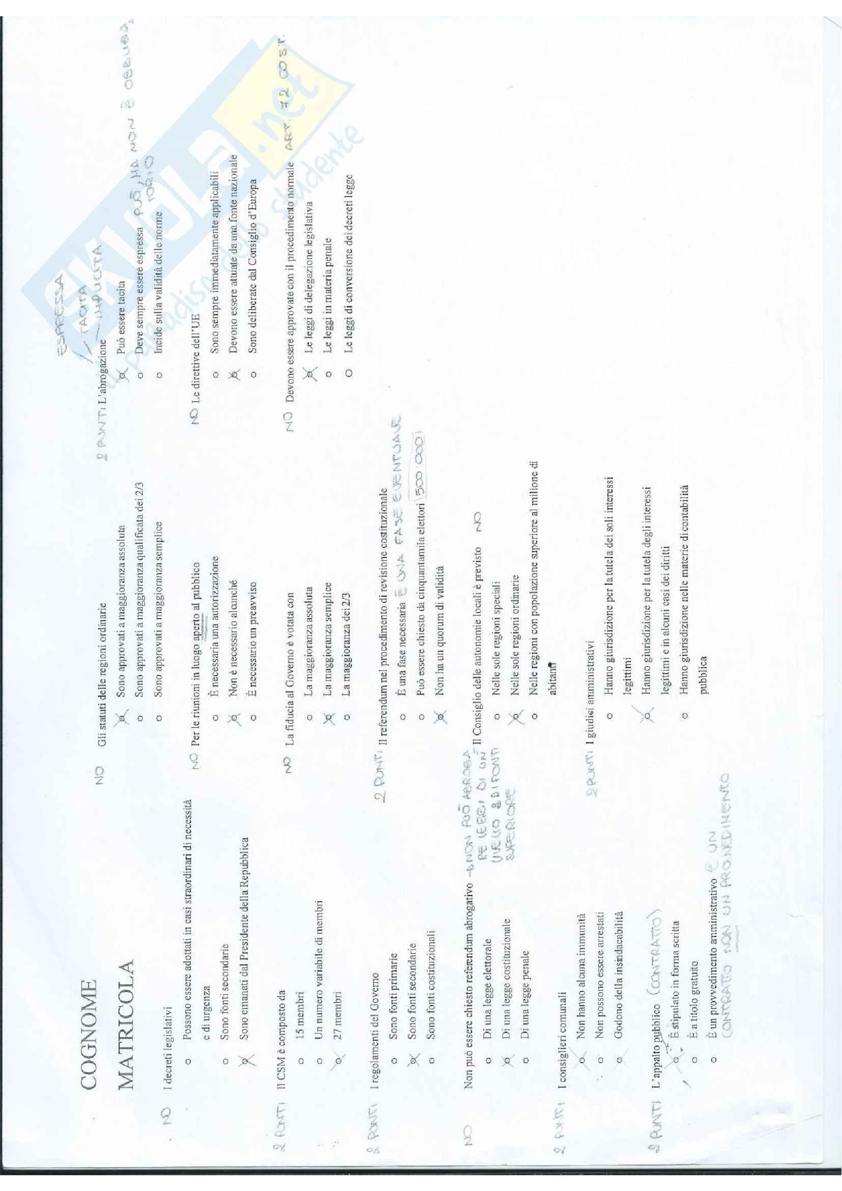 Domande passate con risposte dell'esame di Diritto pubblico Pag. 6