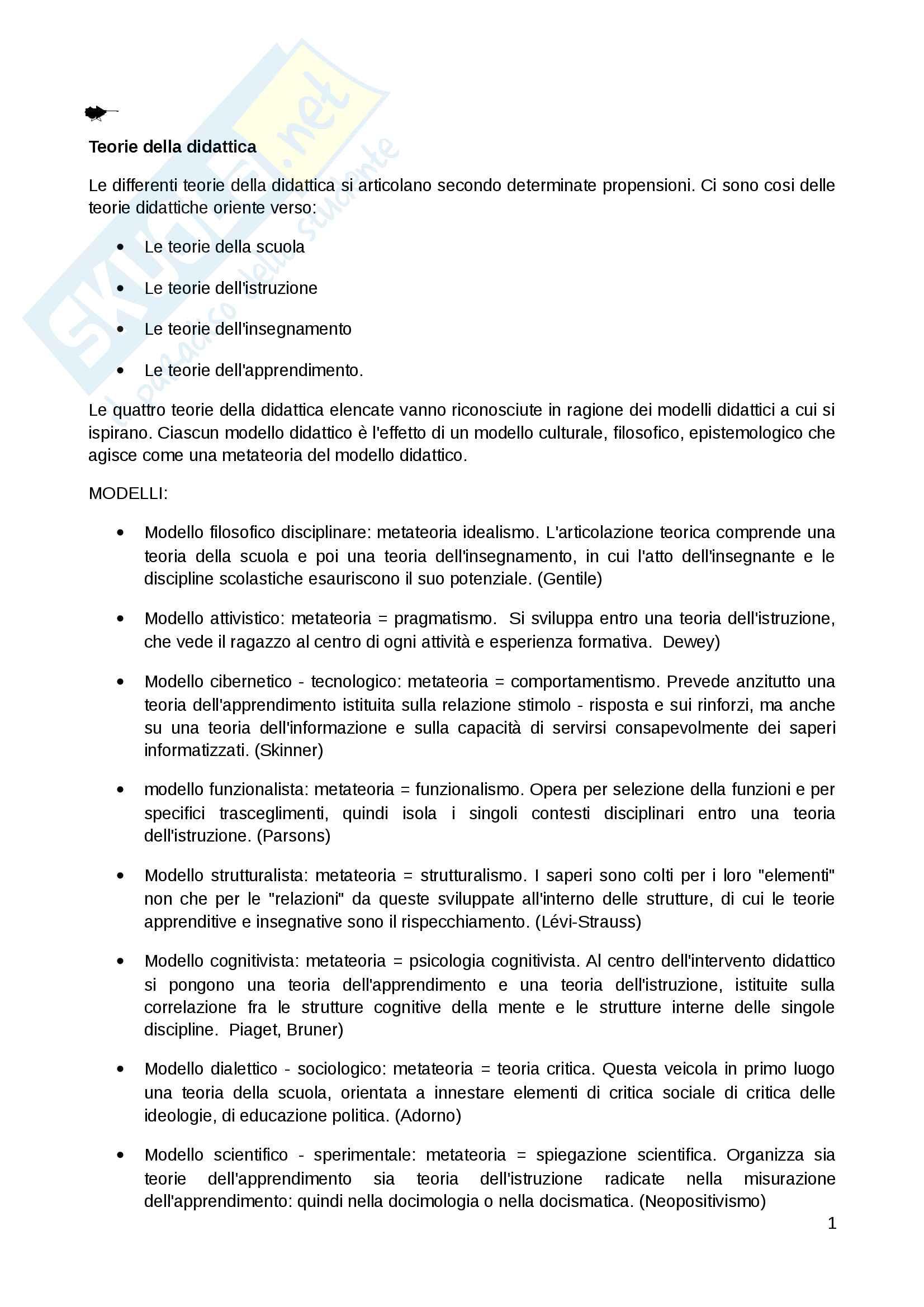 Riassunto per l'esame di didattica generale, professoressa M.V. Isidori. Libro consigliato M.Gennari, Manuale di didattica generale cap 1, 5, 7, 8 ,9, 10