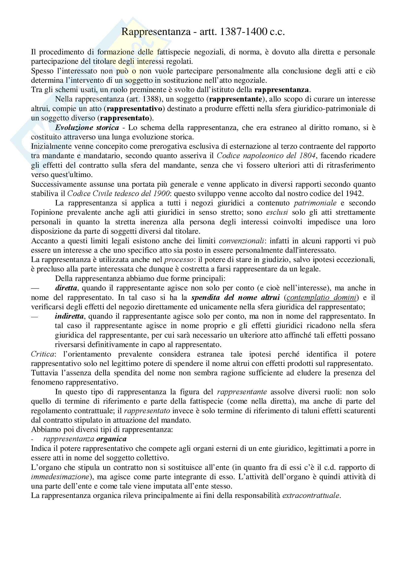 Diritto Civile - Perlingieri – Rappresentanza – Riassunto esame