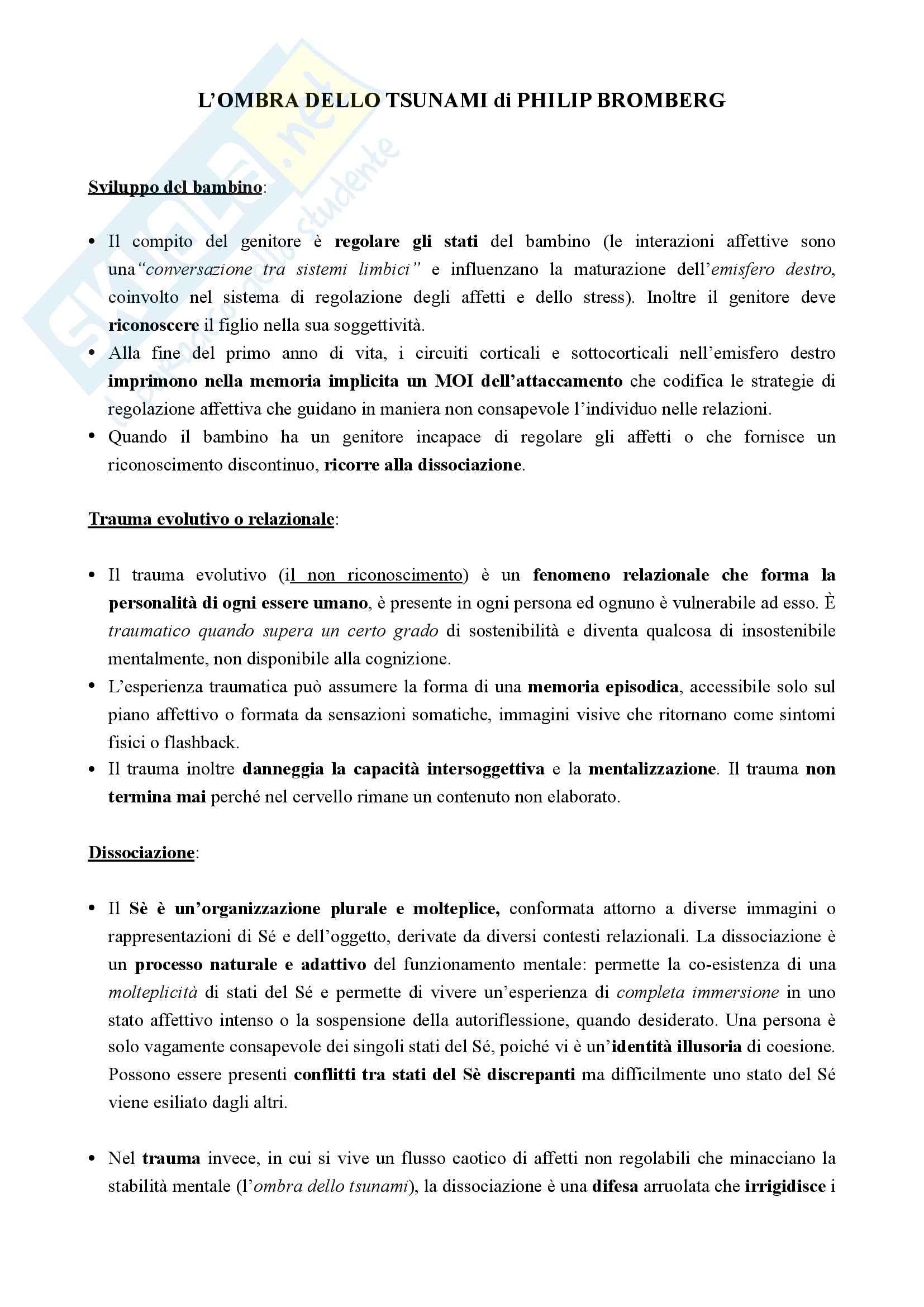 Riassunto esame Clinica dell'attaccamento, prof. Albasi, libro consigliato L'ombra dello tsunami di Bromberg