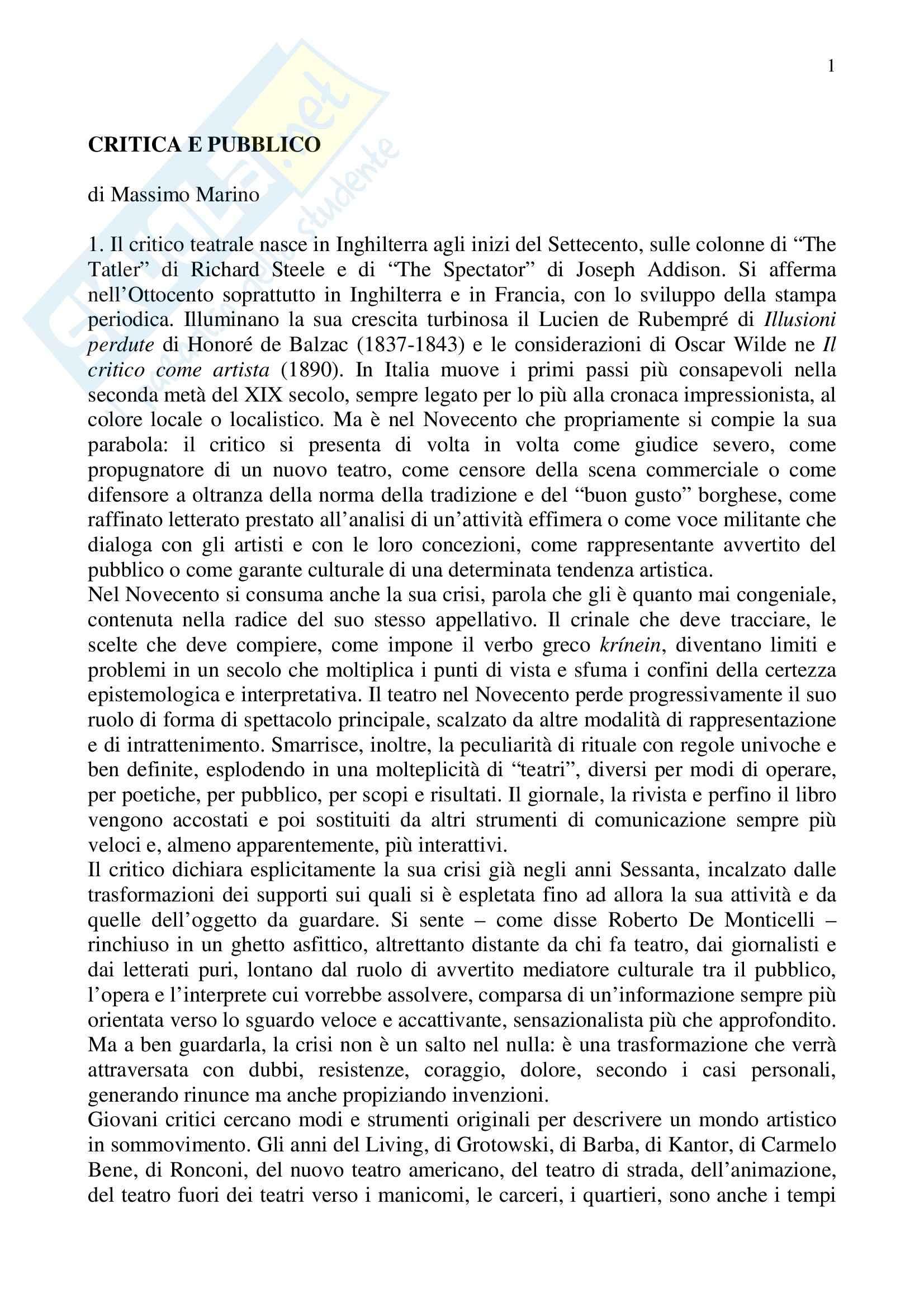 Promozione e informazione teatrale - critica e pubblico - Appunti