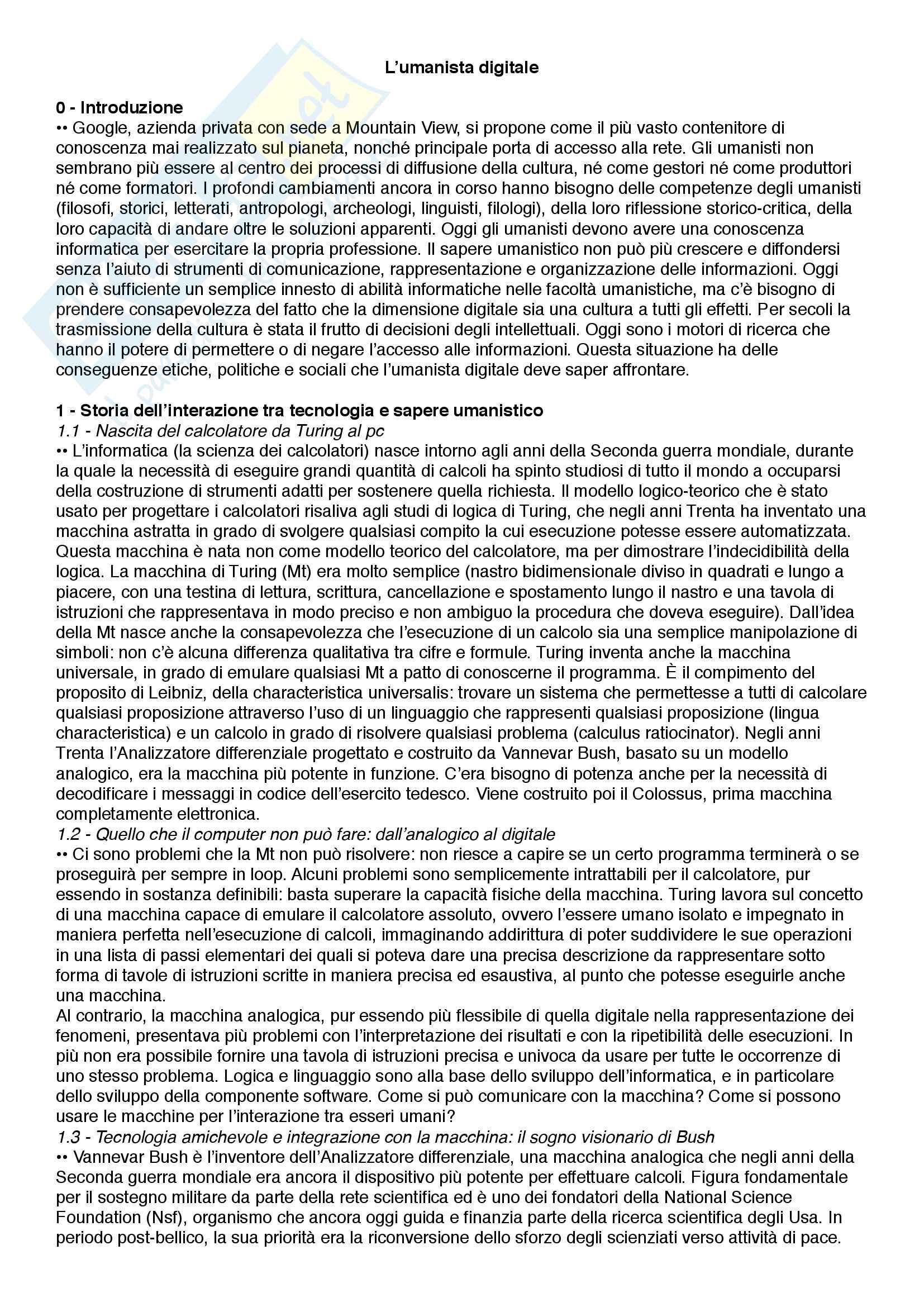Riassunto esame Epistemologia dei nuovi media, prof.ssa Numerico, libro consigliato L'umanista digitale, Fiormonte, Tomasi, Numerico