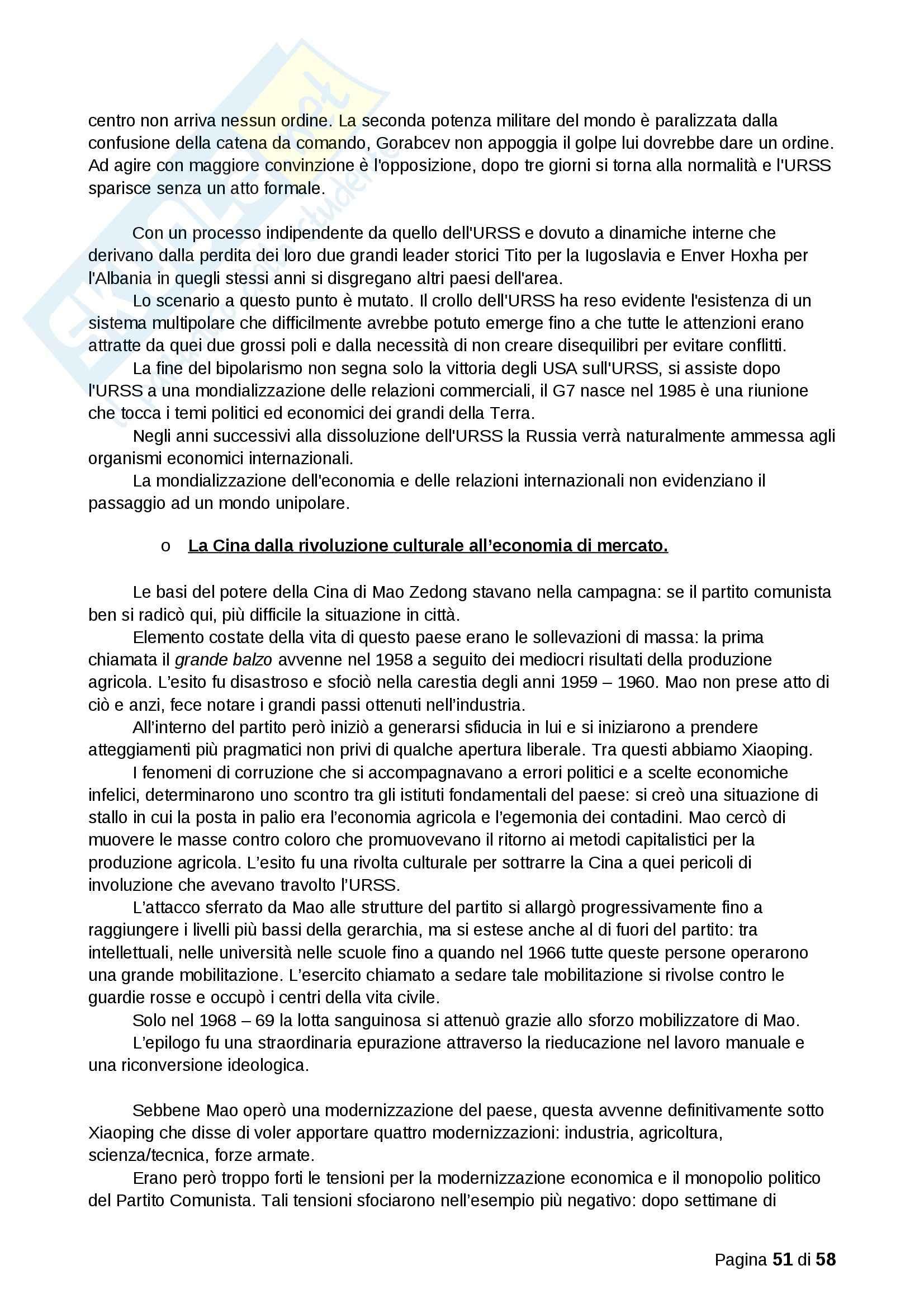 Riassunto esame Storia, prof. Montroni, libro consigliato Scenari dal Mondo Contemporaneo Pag. 51