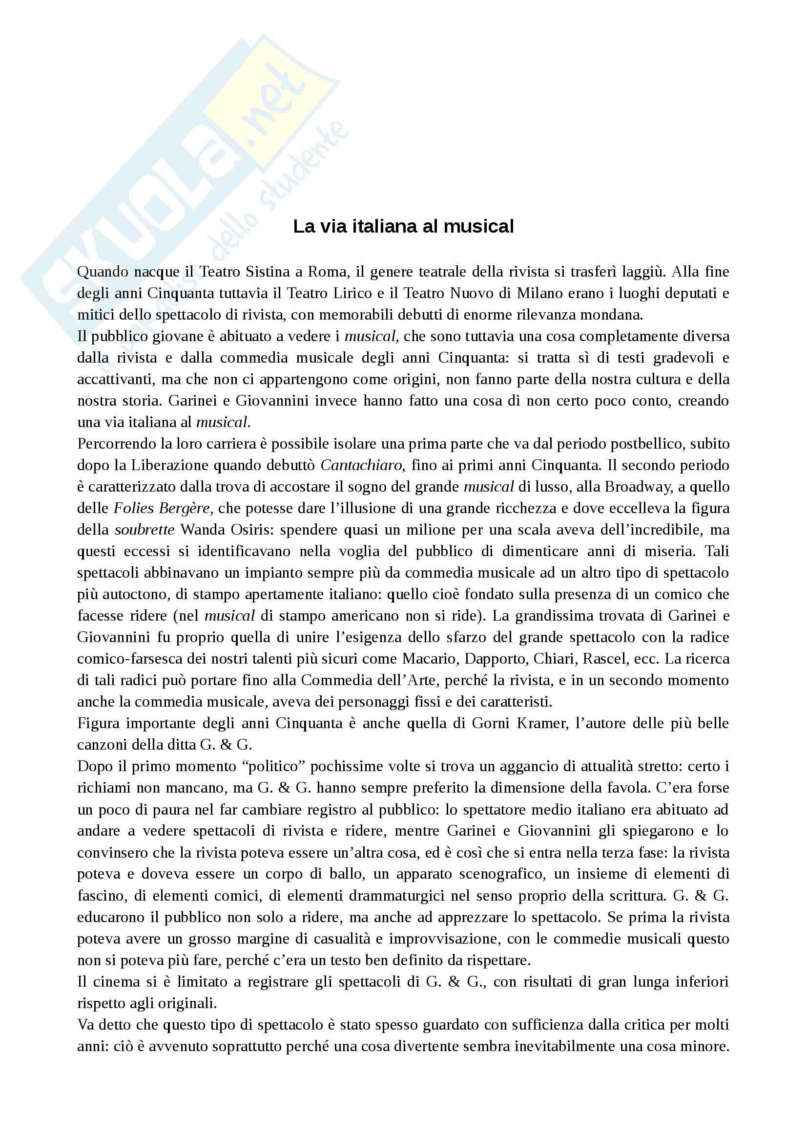 Riassunto esame Spettacolo, prof. Porro, libro consigliato Teatro di Garinei e Giovannini, Bulzoni