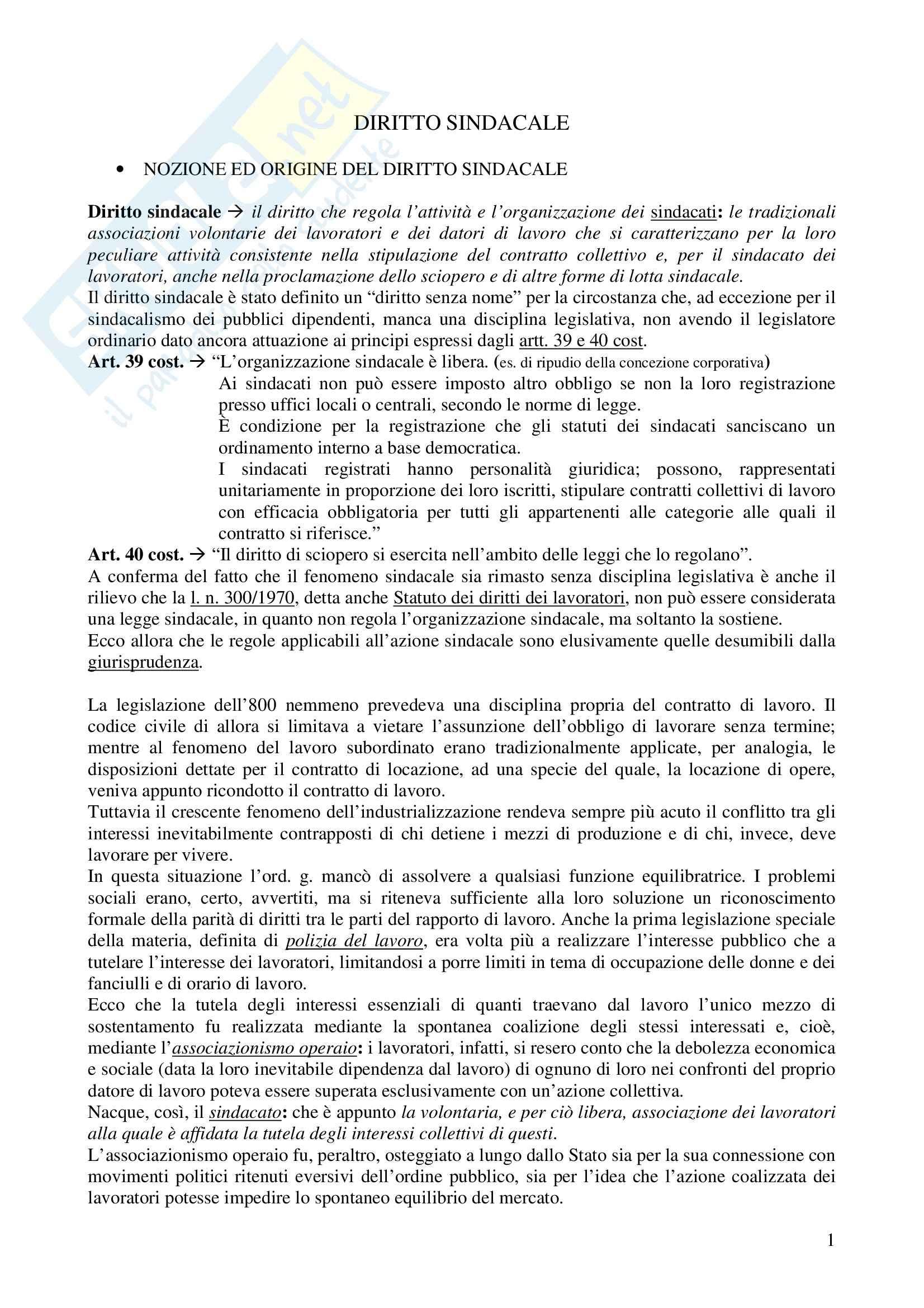 Riassunto esame Diritto del Lavoro, prof. Santoro-Passarelli, libro consigliato Diritto Sindacale, Santoro Passarelli