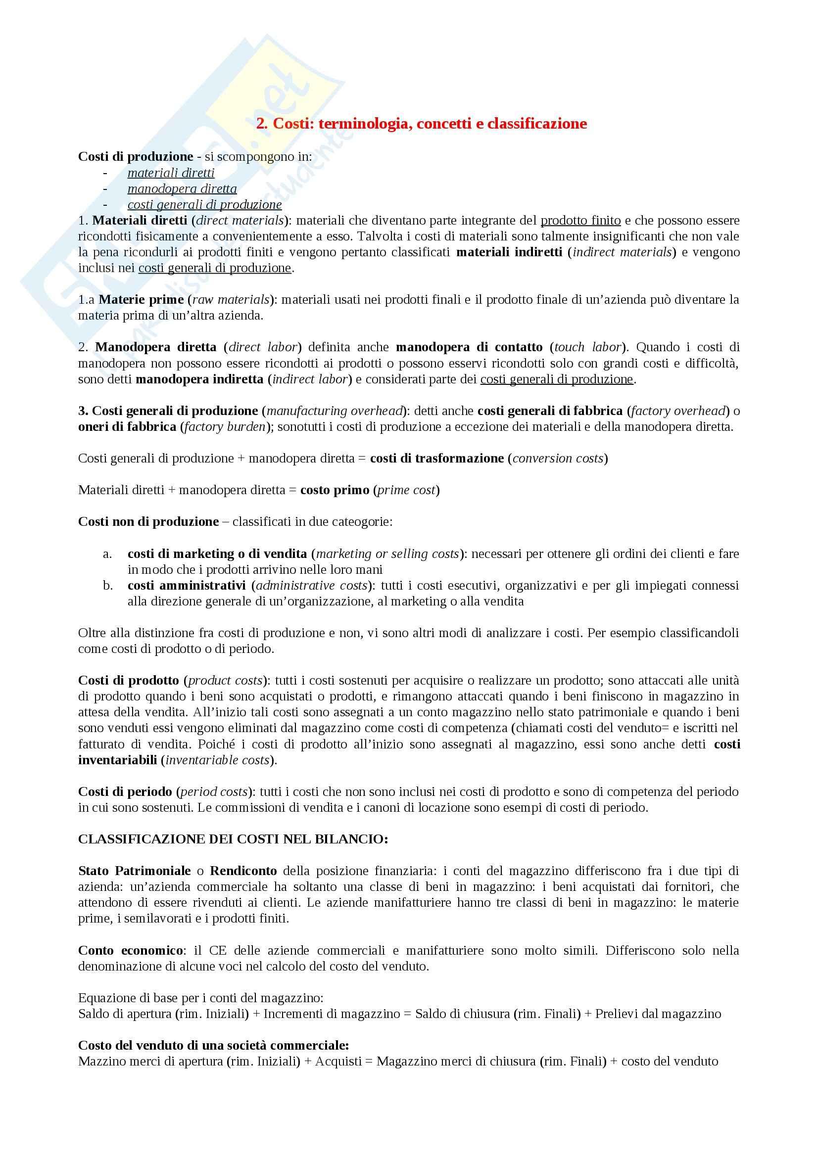 Riassunto esame Economia, prof. Golzio, libro consigliato Programmazione e controllo, Garrison
