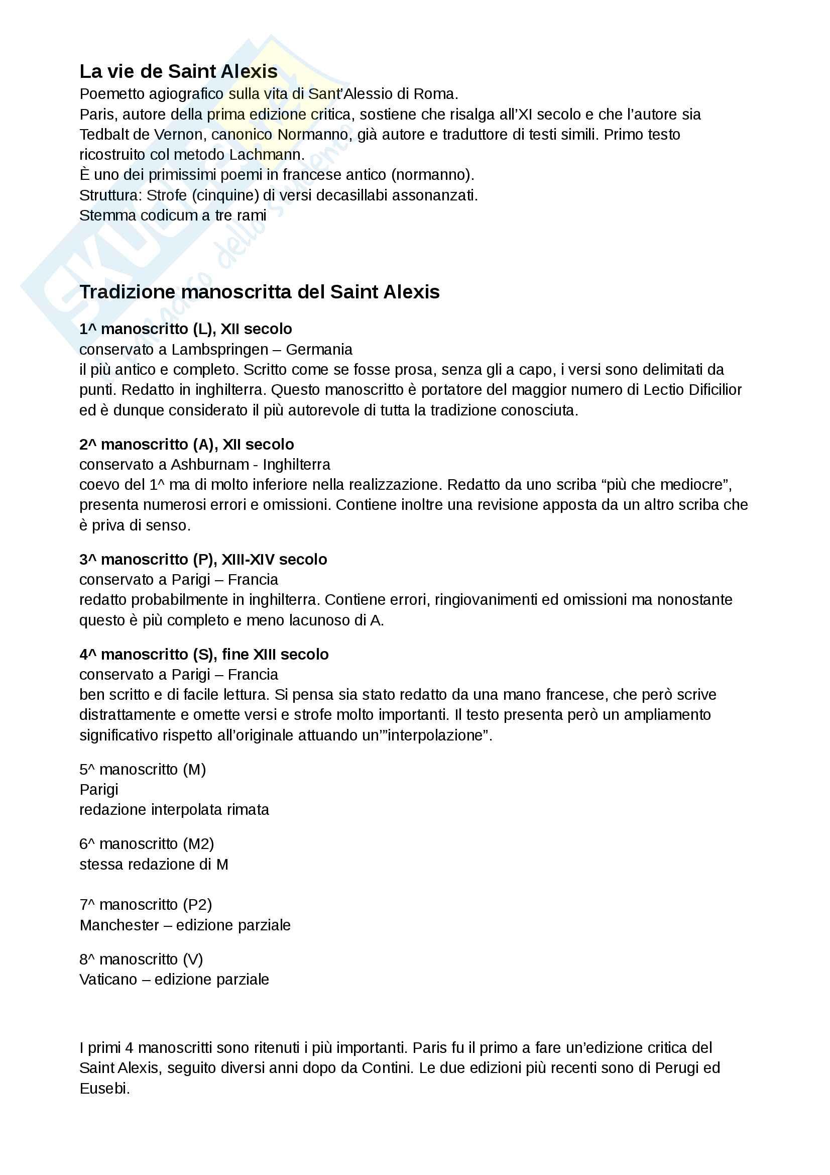 Saint Alexis - tradizione manoscritta, analisi metrica, analisi linguistica, diffrazione in assenza