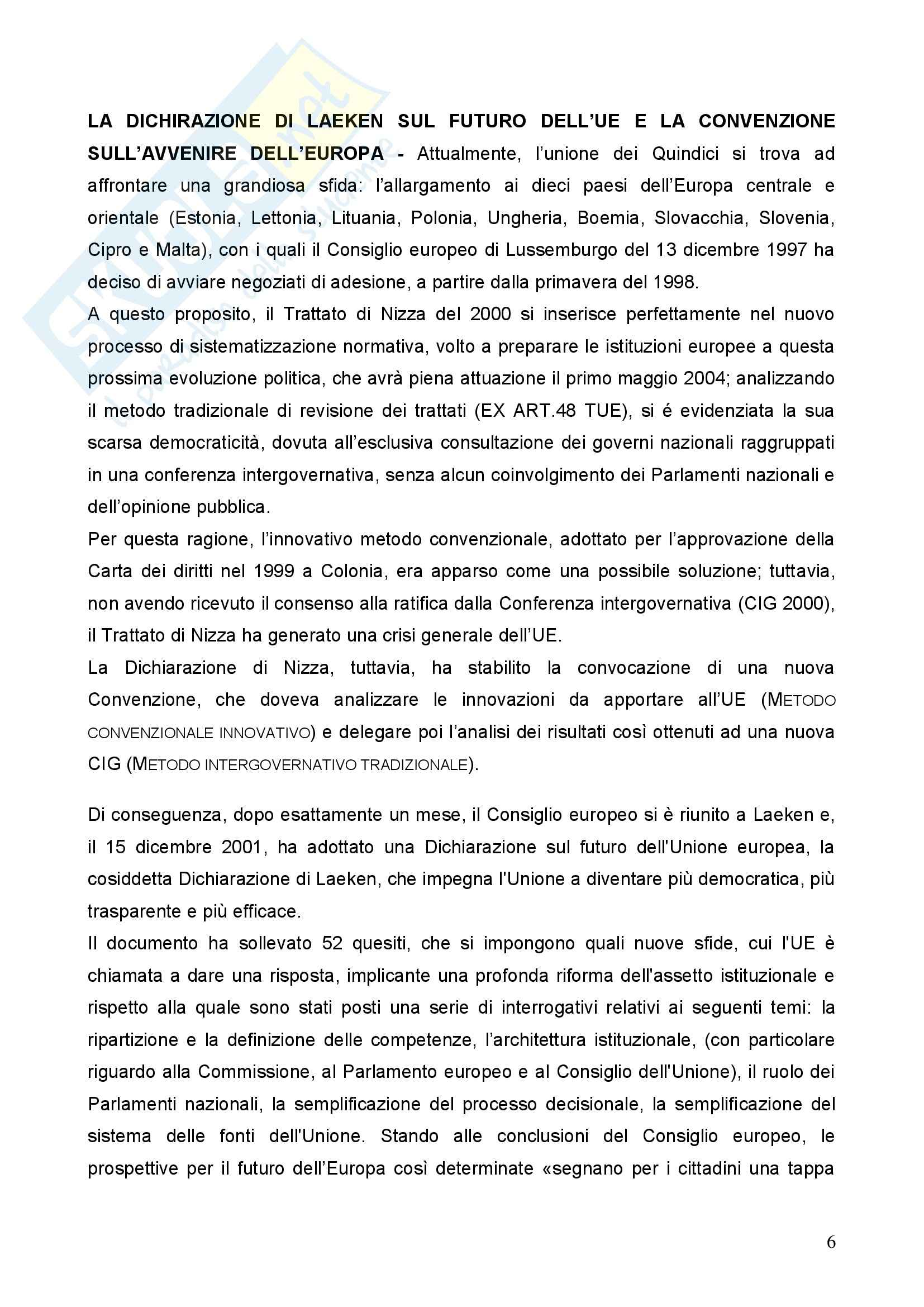 Diritto dell'Unione Europea - la Dichiarazione di Laeken e aspetti principali dell'Unione Europea Pag. 6