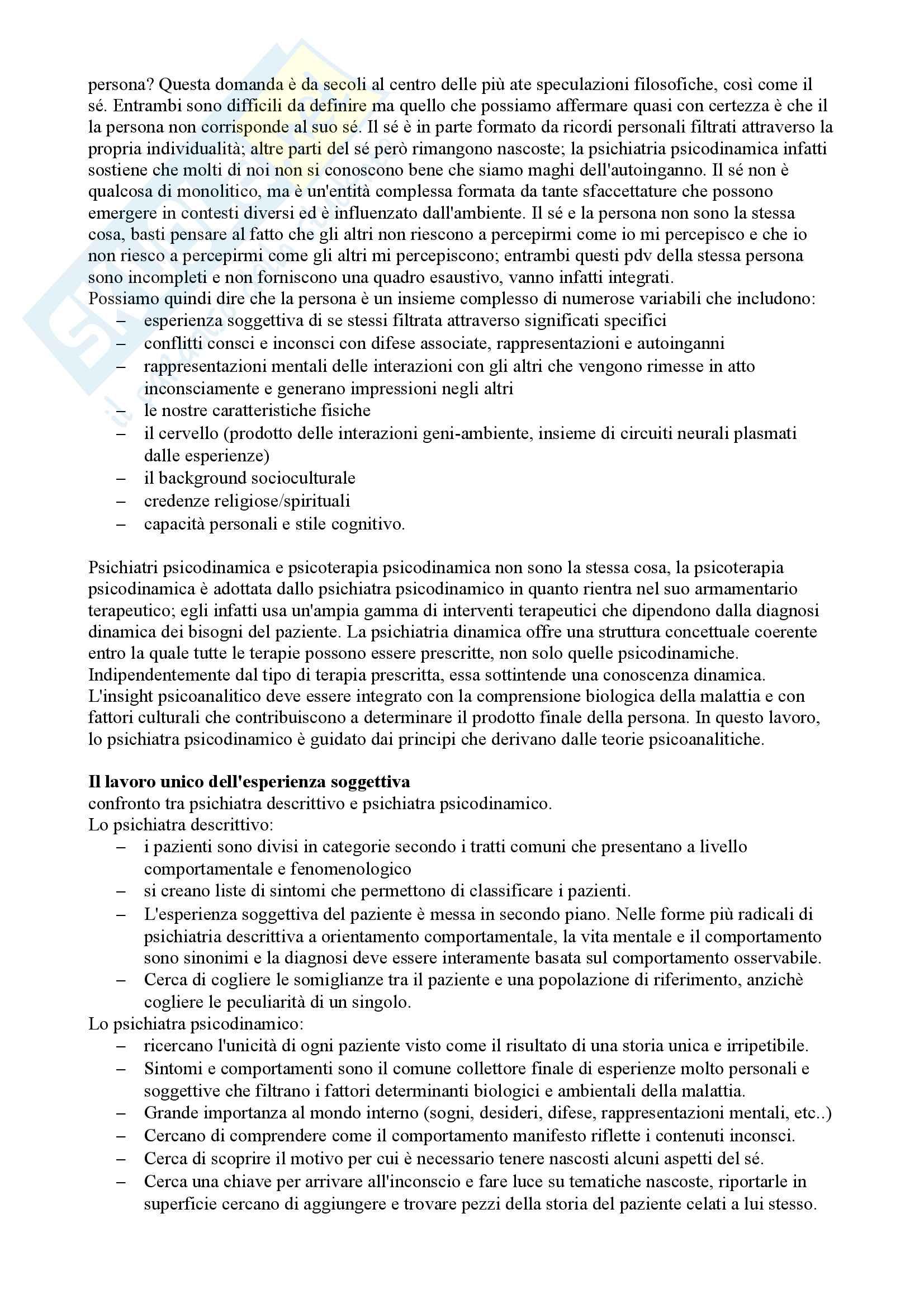 Riassunto esame Psicologia clinica, prof. Madeddu, libro consigliato Psichiatria Psicodinamica, Gabbard Pag. 2
