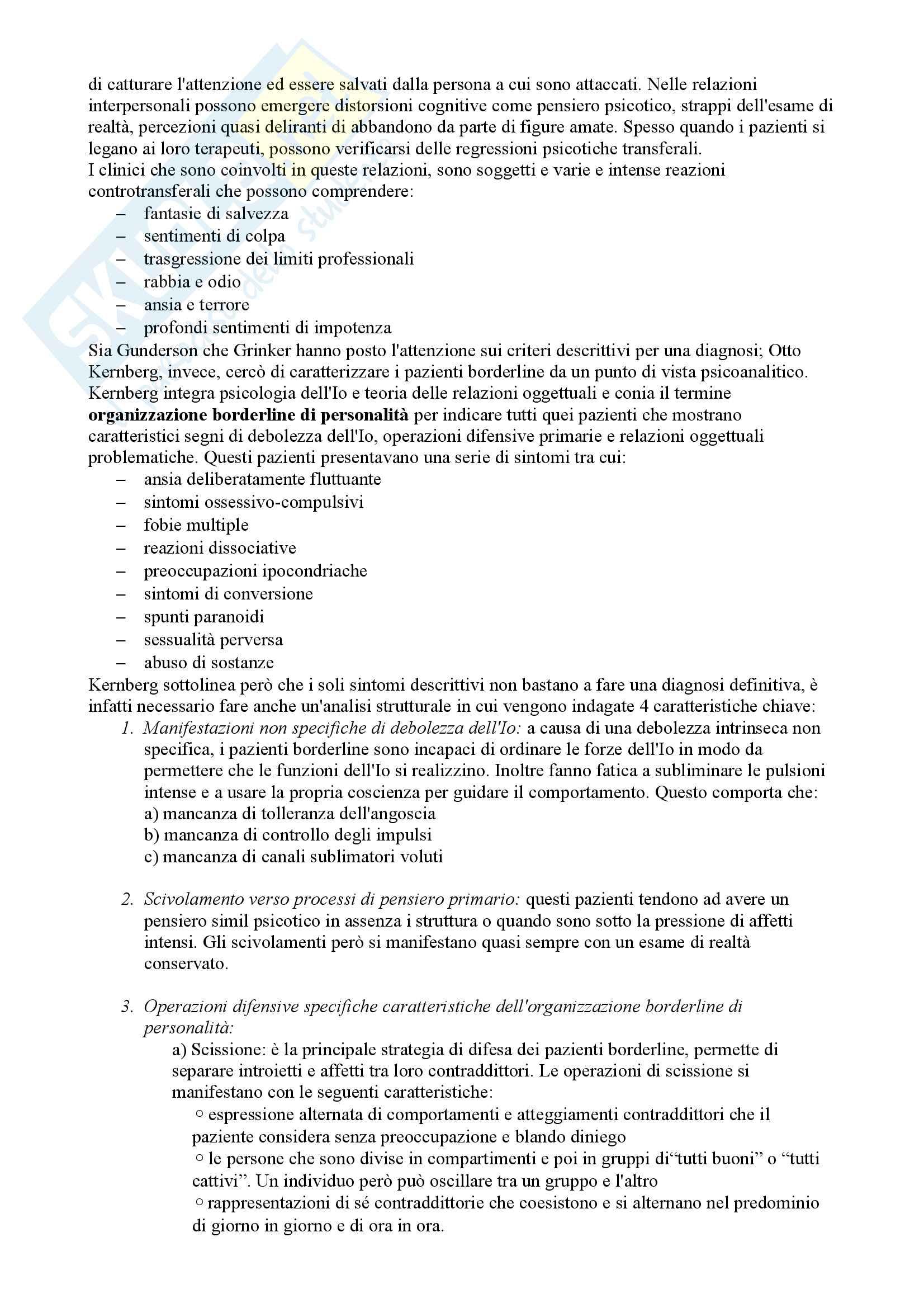 Riassunto esame Psicologia clinica, prof. Madeddu, libro consigliato Psichiatria Psicodinamica, Gabbard Pag. 46