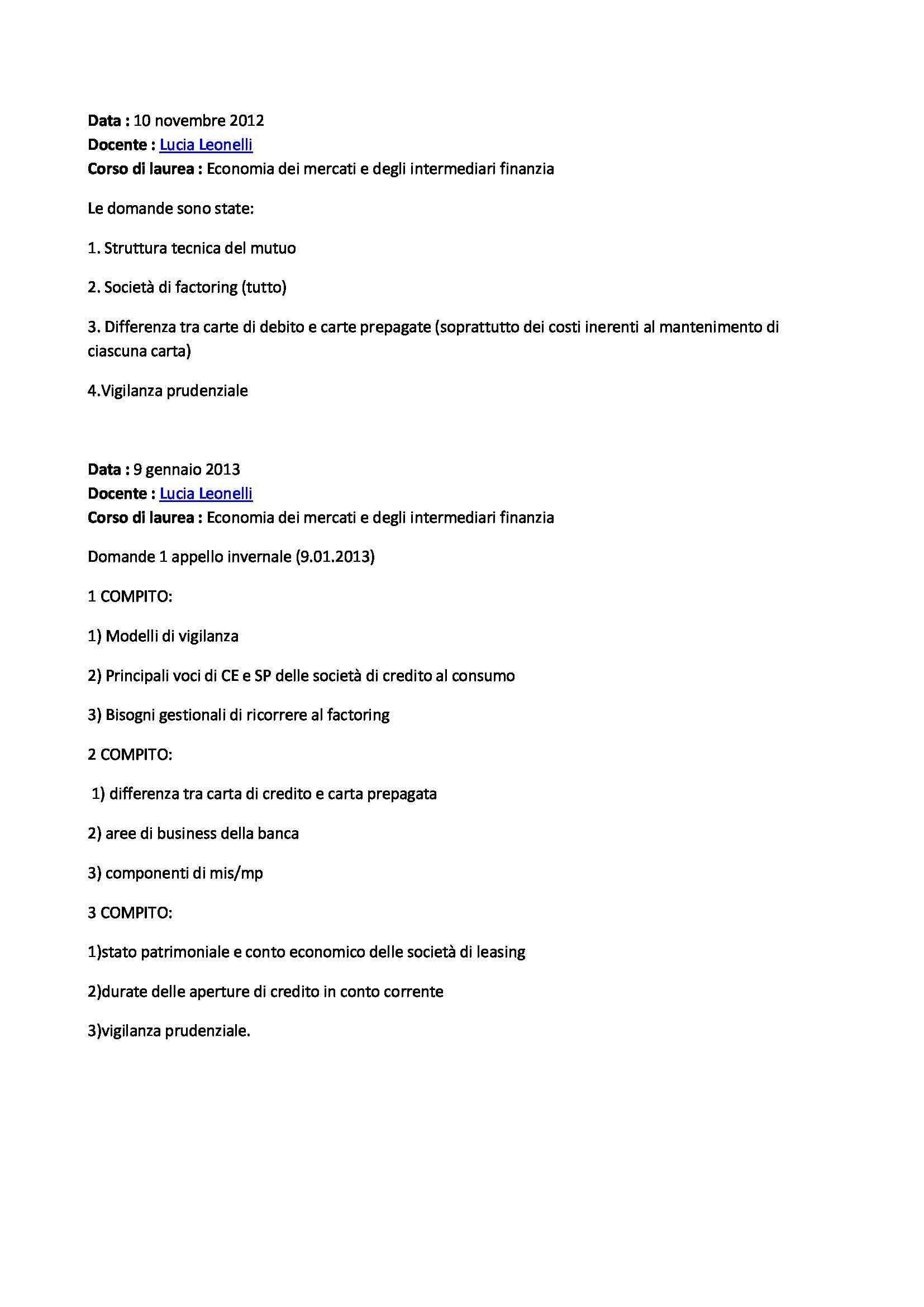 Economia degli intermediari finanziari - Domande Pag. 2