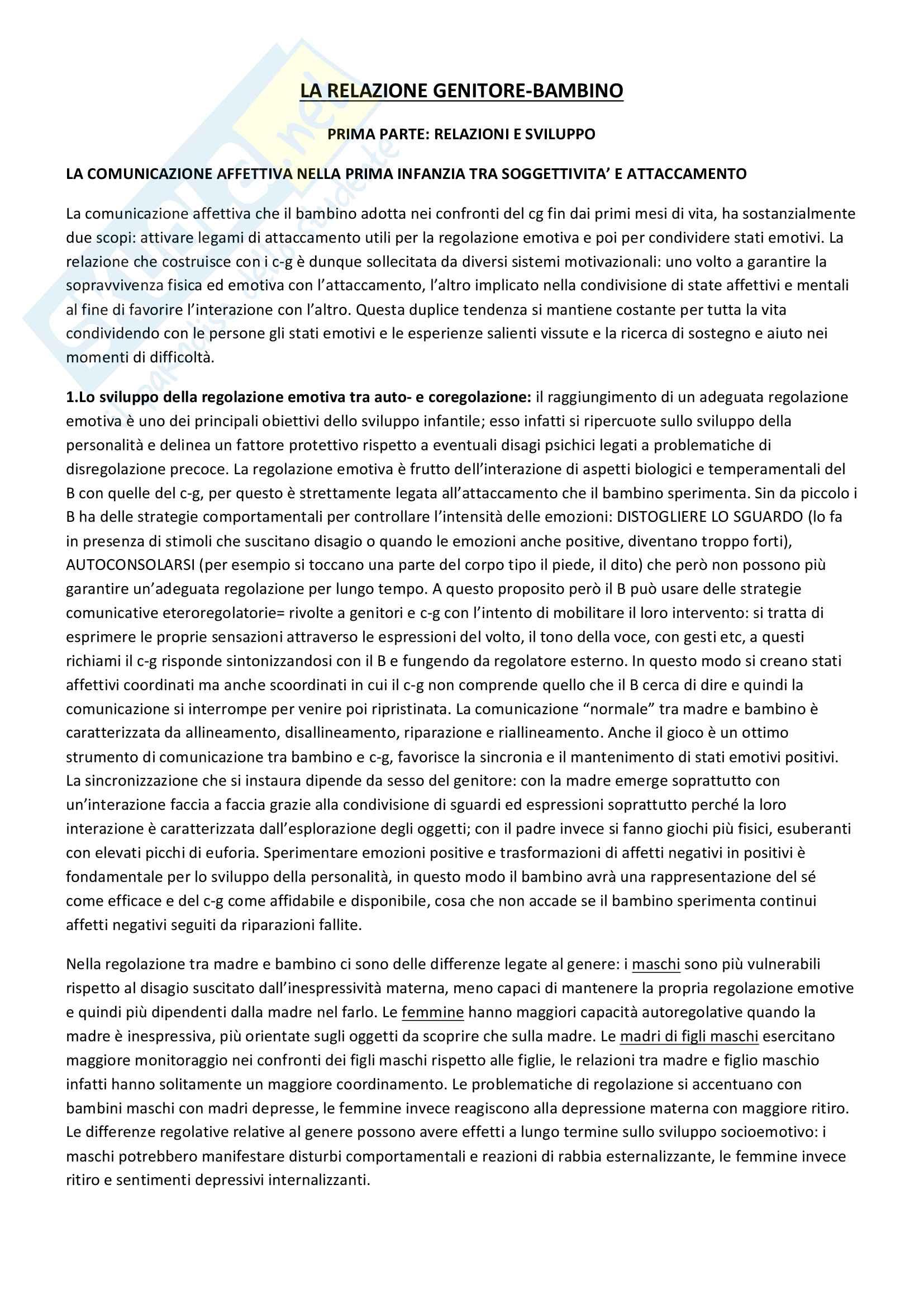 Riassunto esame Psicologia del ciclo di vita, prof. Maggiolini e Riva Crugnola, libro consigliato La relazione genitore-bambino, Cristina Riva Crugnola