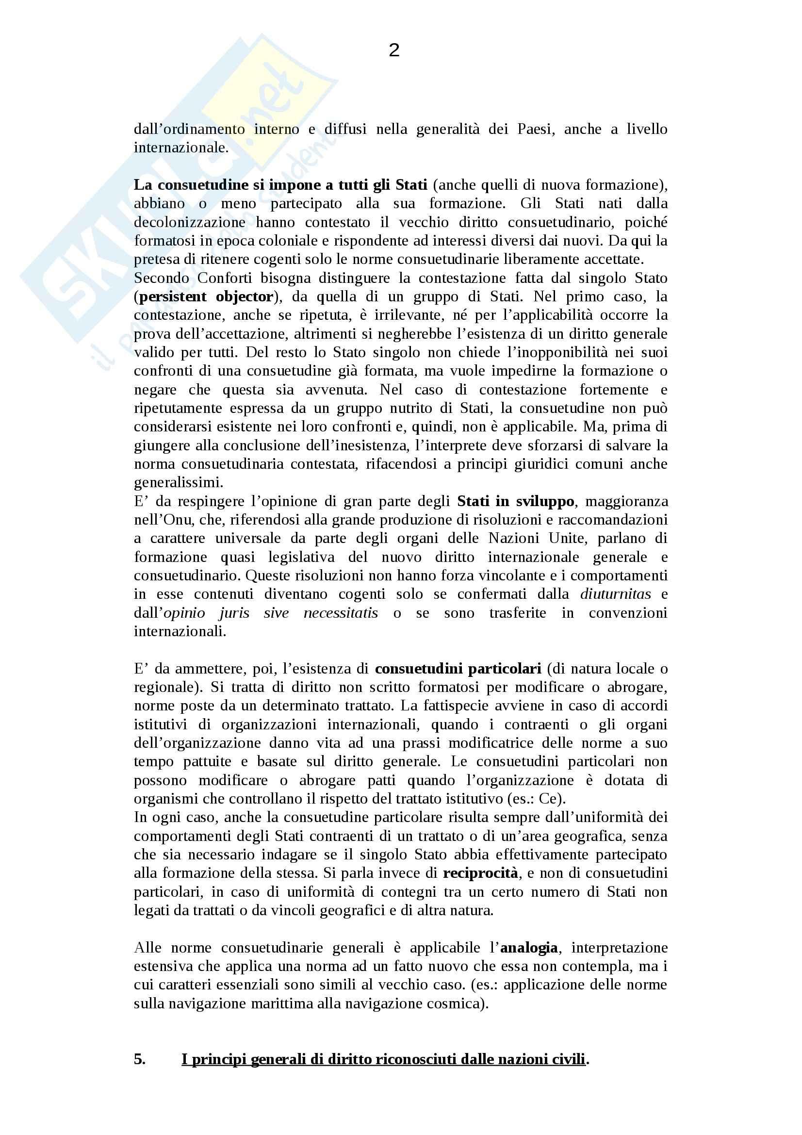 Riassunto esame Diritto internazionale, prof. Politi, libro consigliato Diritto Internazionale, Conforti Pag. 2