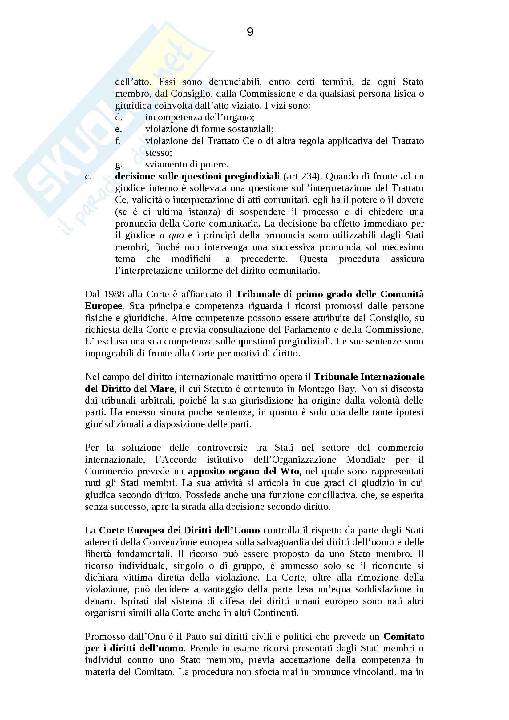 Riassunto esame Diritto internazionale, prof. Politi, libro consigliato Diritto Internazionale, Conforti Pag. 91