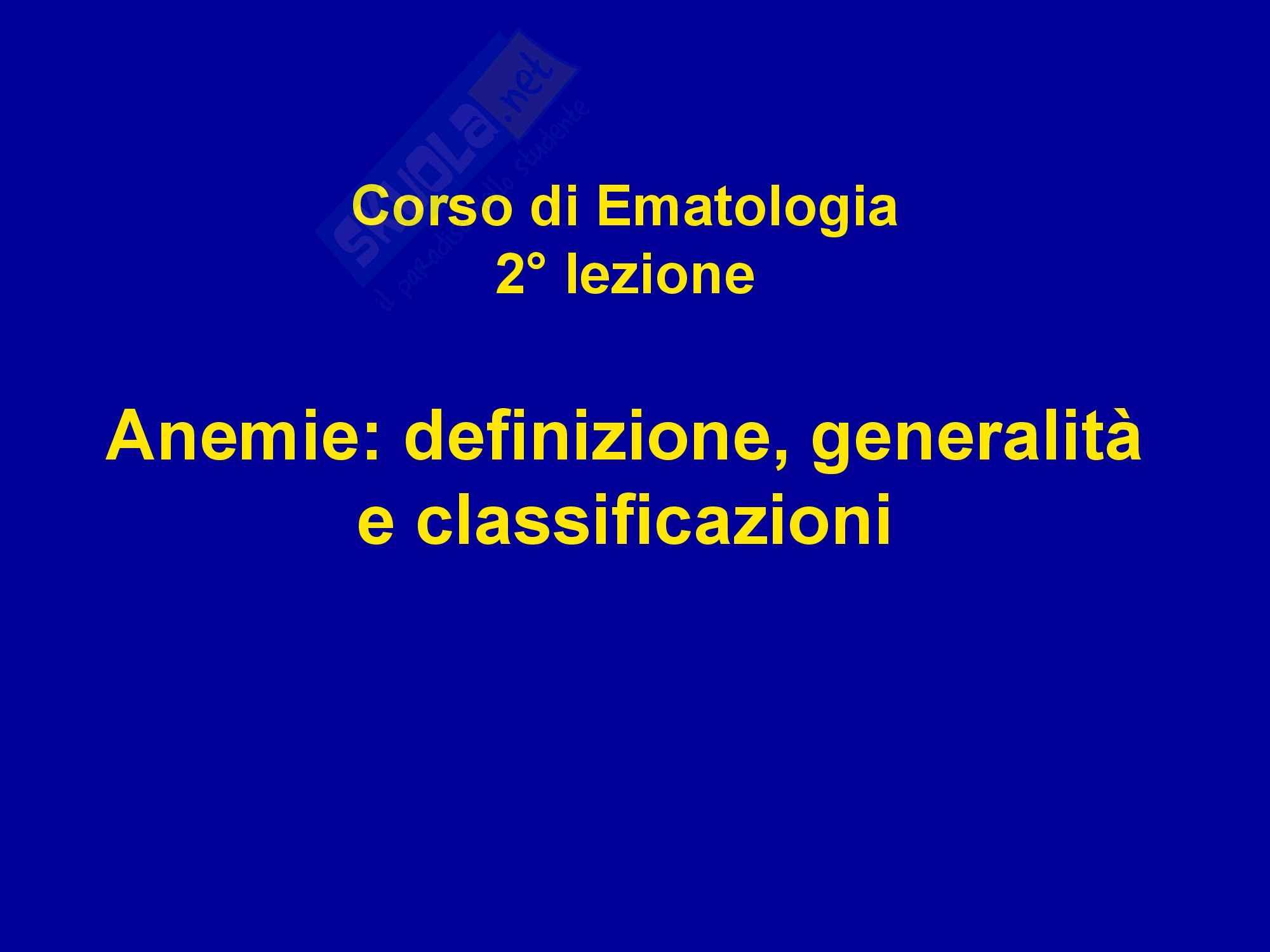 Anemia - Definizione e classificazione
