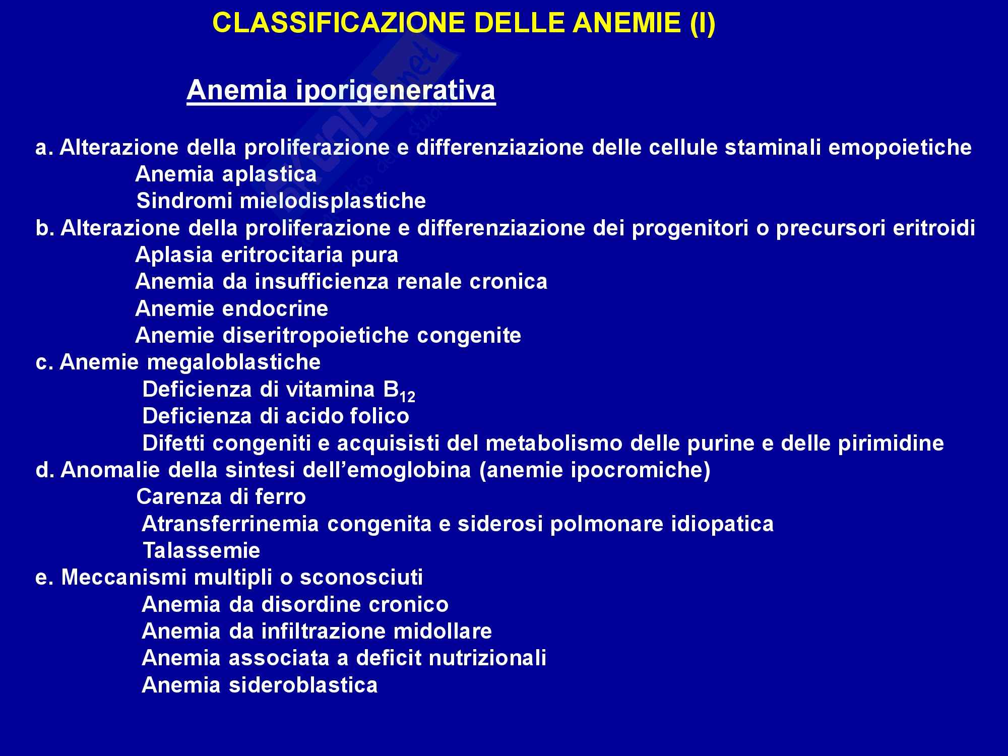 Anemia - Definizione e classificazione Pag. 11