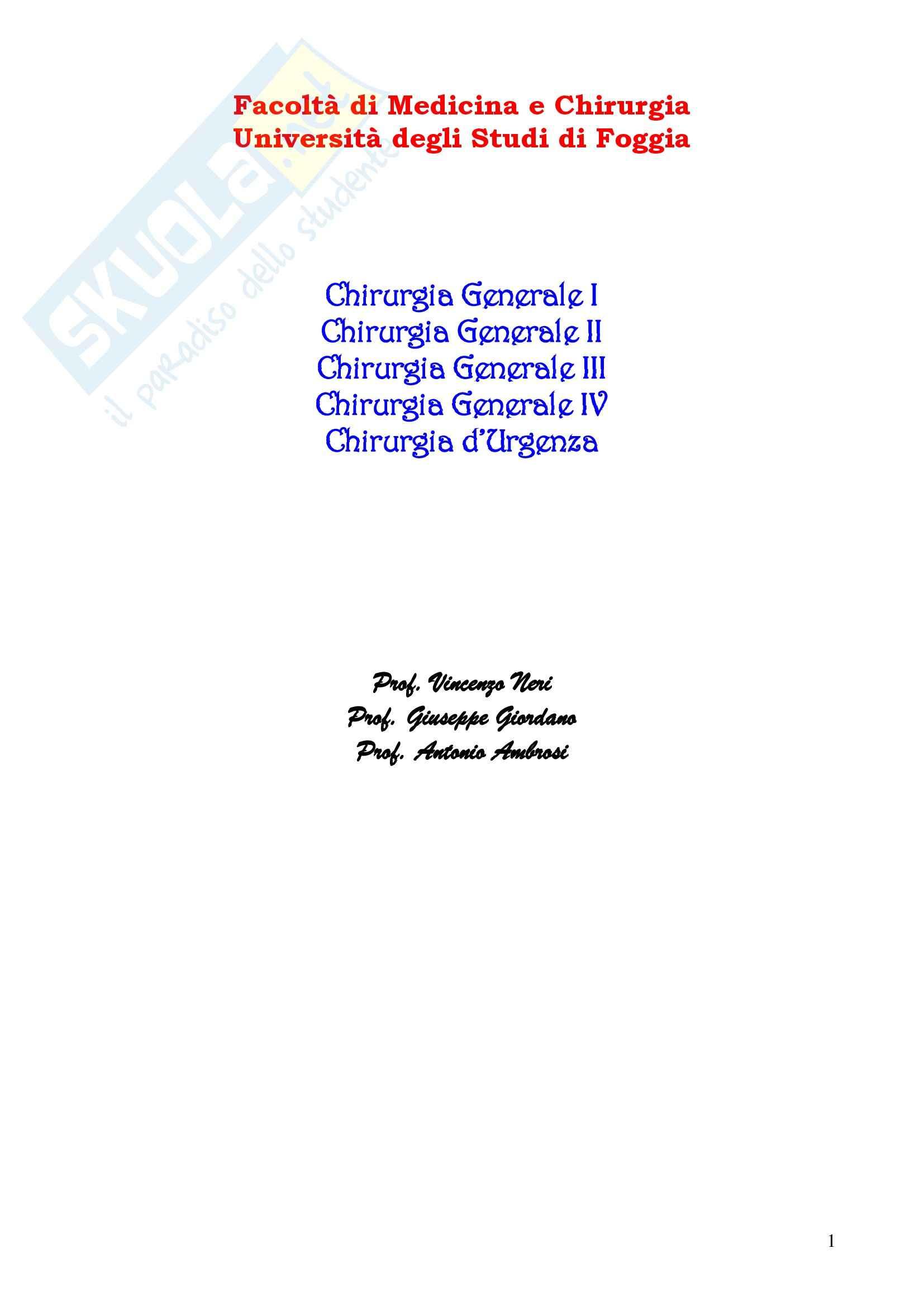Chirurgia - chirurgia generale - Appunti