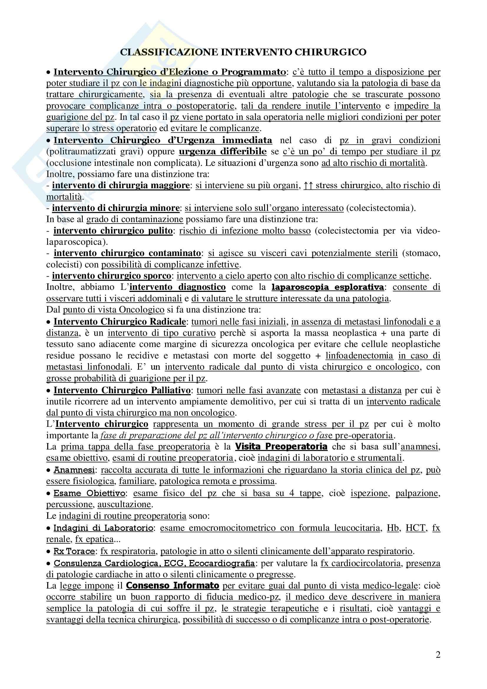 Chirurgia - chirurgia generale - Appunti Pag. 2