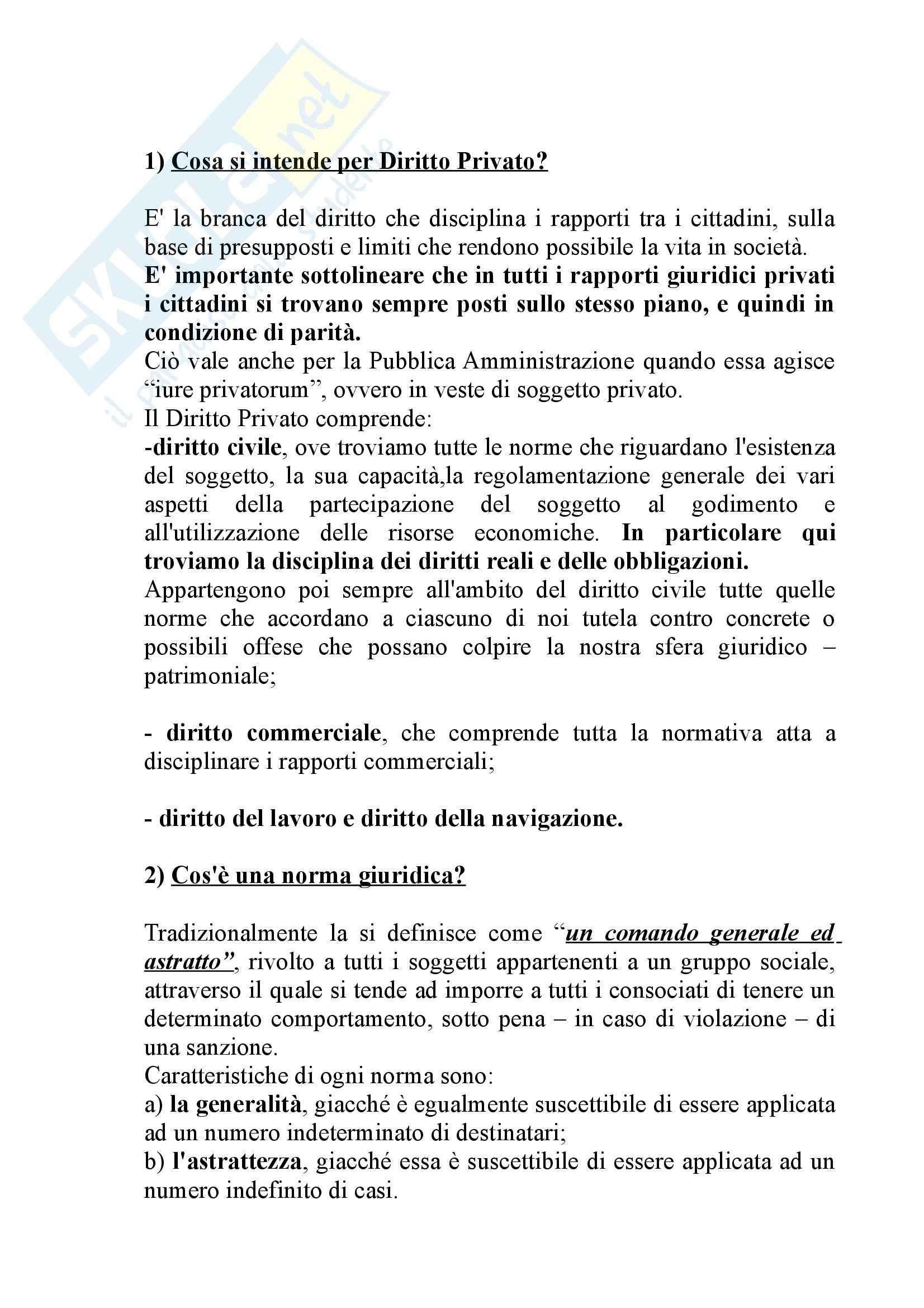 Riassunto esame Istituzioni di Diritto Privato, prof. Casnici