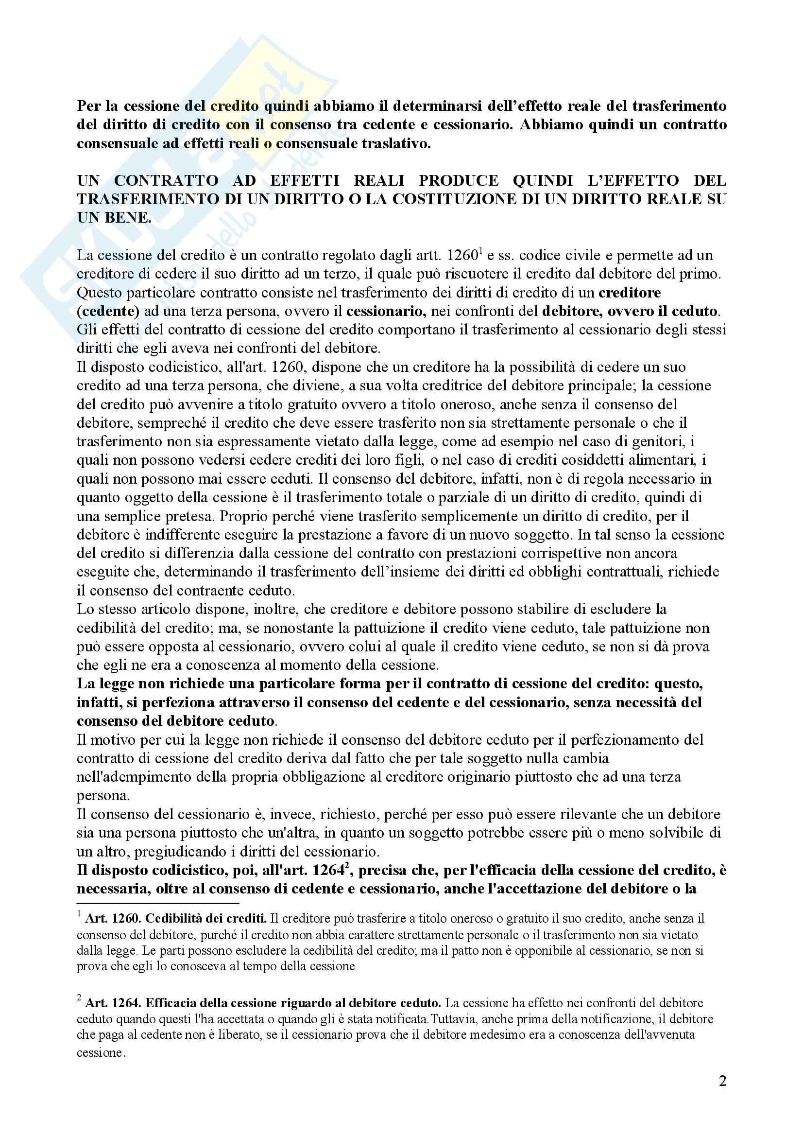Diritto commerciale - cessione del credito Pag. 2
